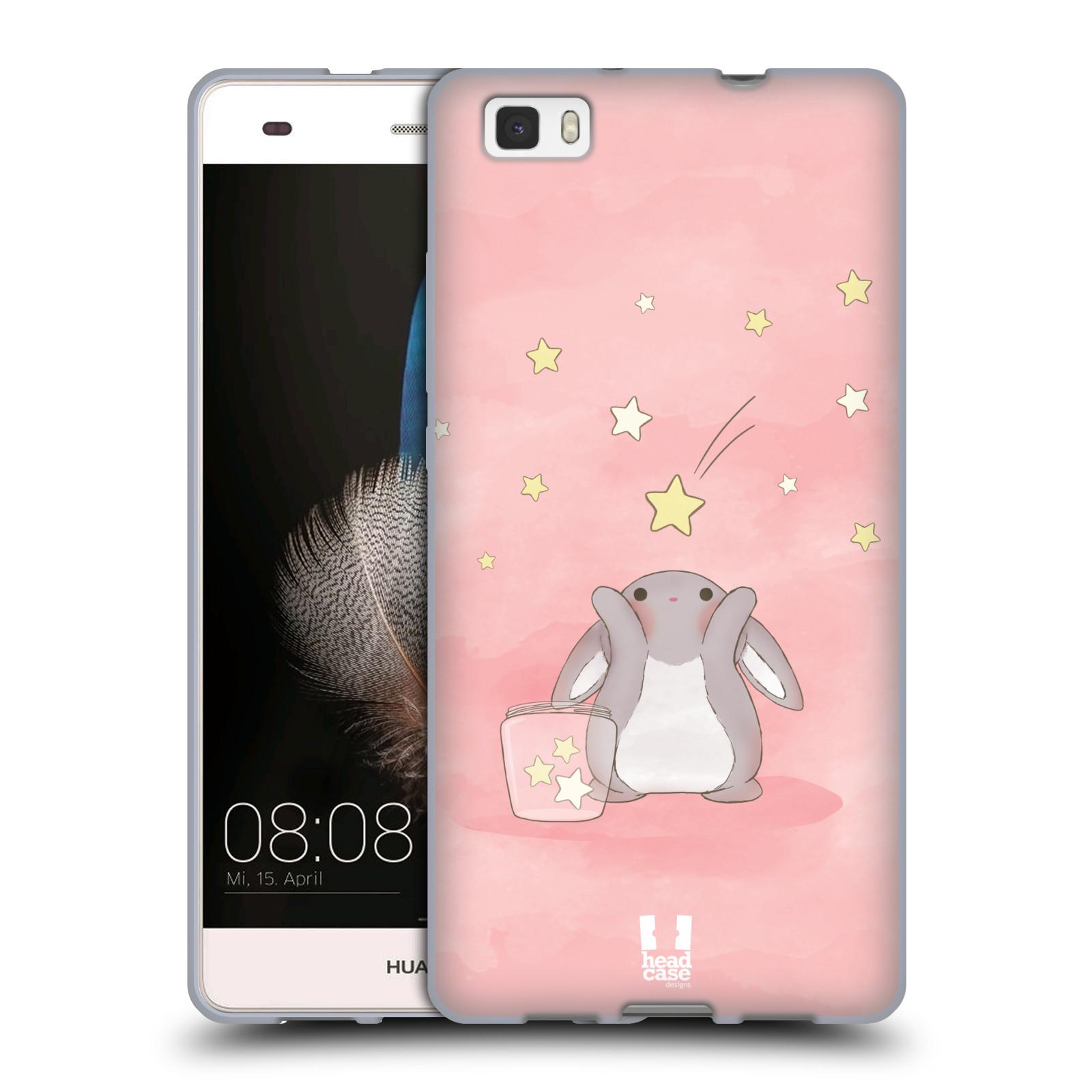 HEAD CASE silikonový obal na mobil HUAWEI P8 LITE vzor králíček a hvězdy růžová
