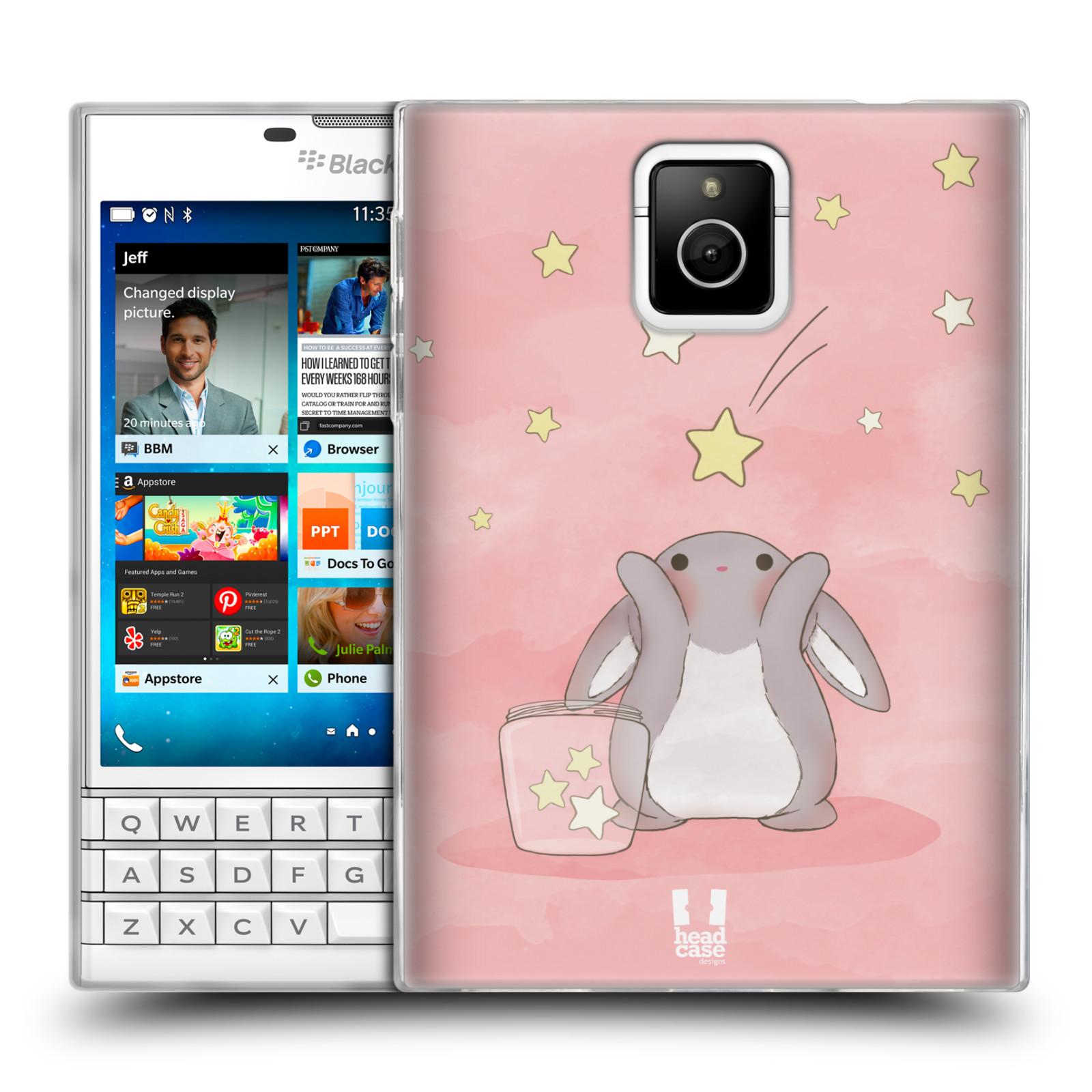 HEAD CASE silikonový obal na mobil Blackberry PASSPORT vzor králíček a hvězdy růžová