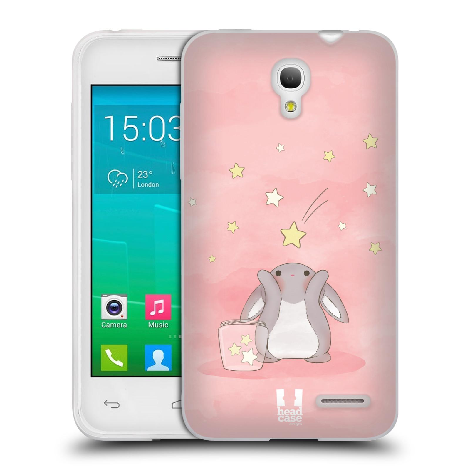 HEAD CASE silikonový obal na mobil Alcatel POP S3 OT-5050Y vzor králíček a hvězdy růžová