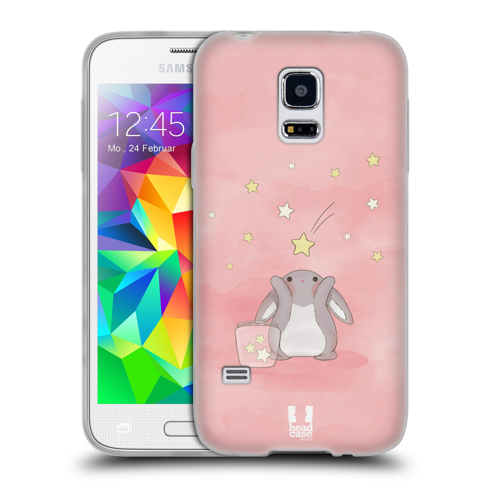 HEAD CASE silikonový obal na mobil Samsung Galaxy S5 MINI vzor králíček a hvězdy růžová