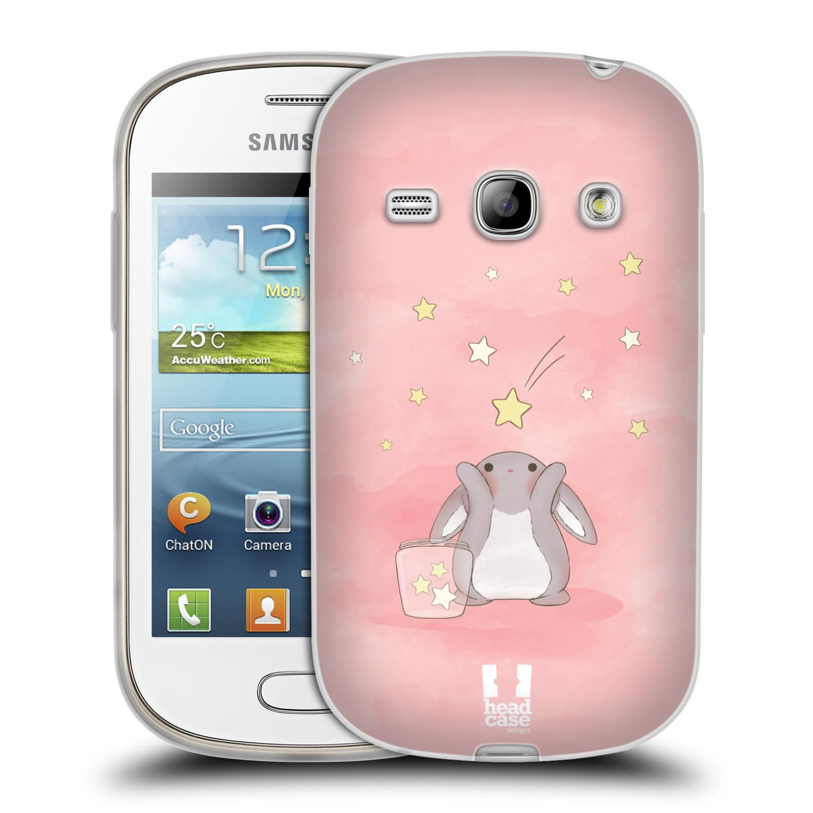 HEAD CASE silikonový obal na mobil Samsung Galaxy FAME vzor králíček a hvězdy růžová