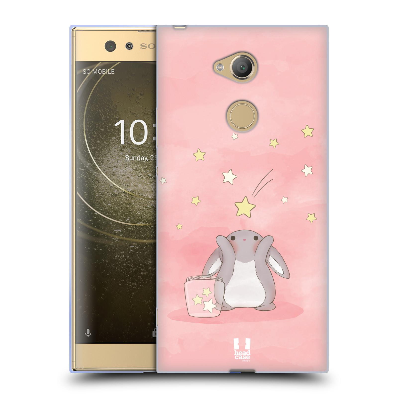 Pouzdro na mobil Sony Xperia XA2 Ultra vzor králíček a hvězdy růžová