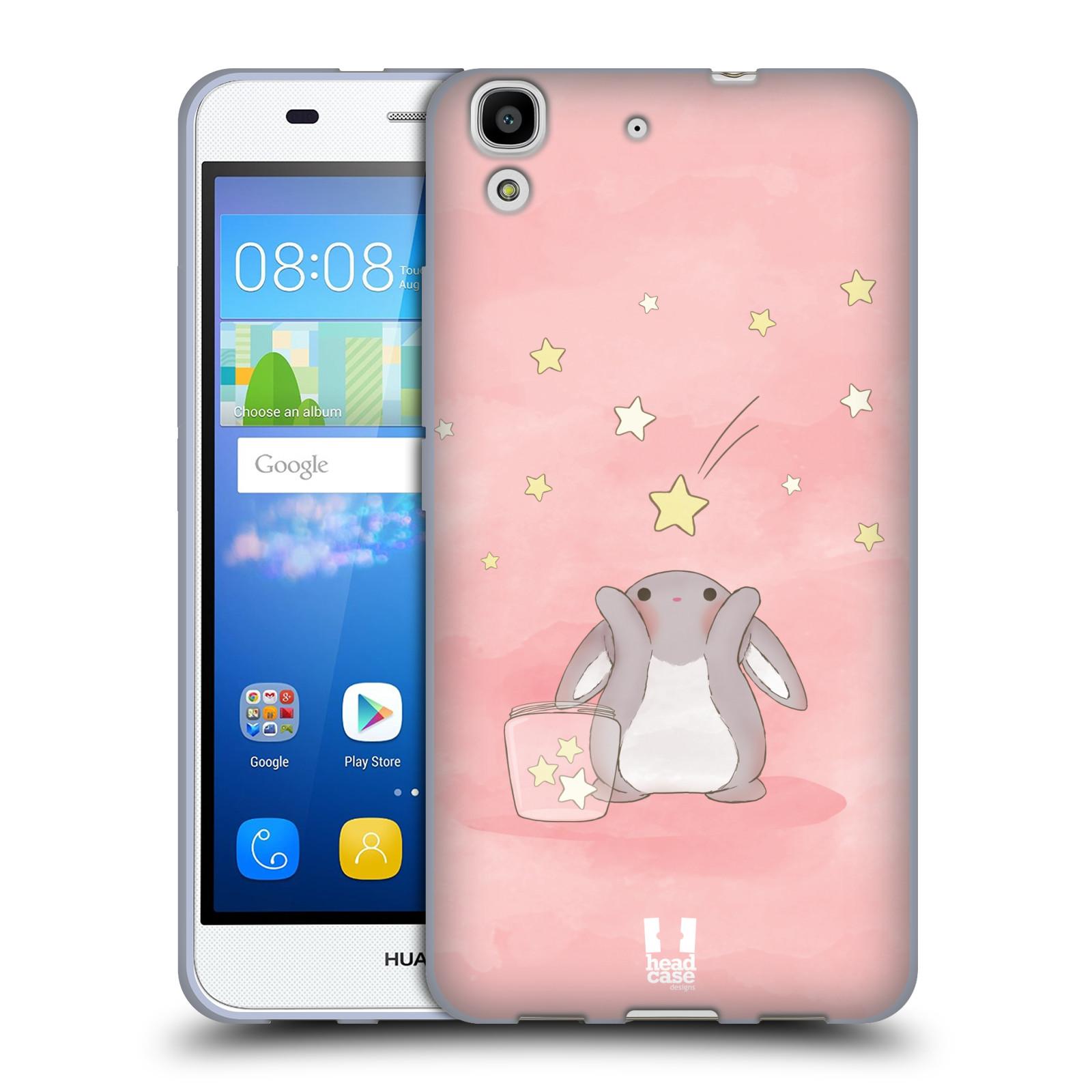 HEAD CASE silikonový obal na mobil HUAWEI Y6 vzor králíček a hvězdy růžová