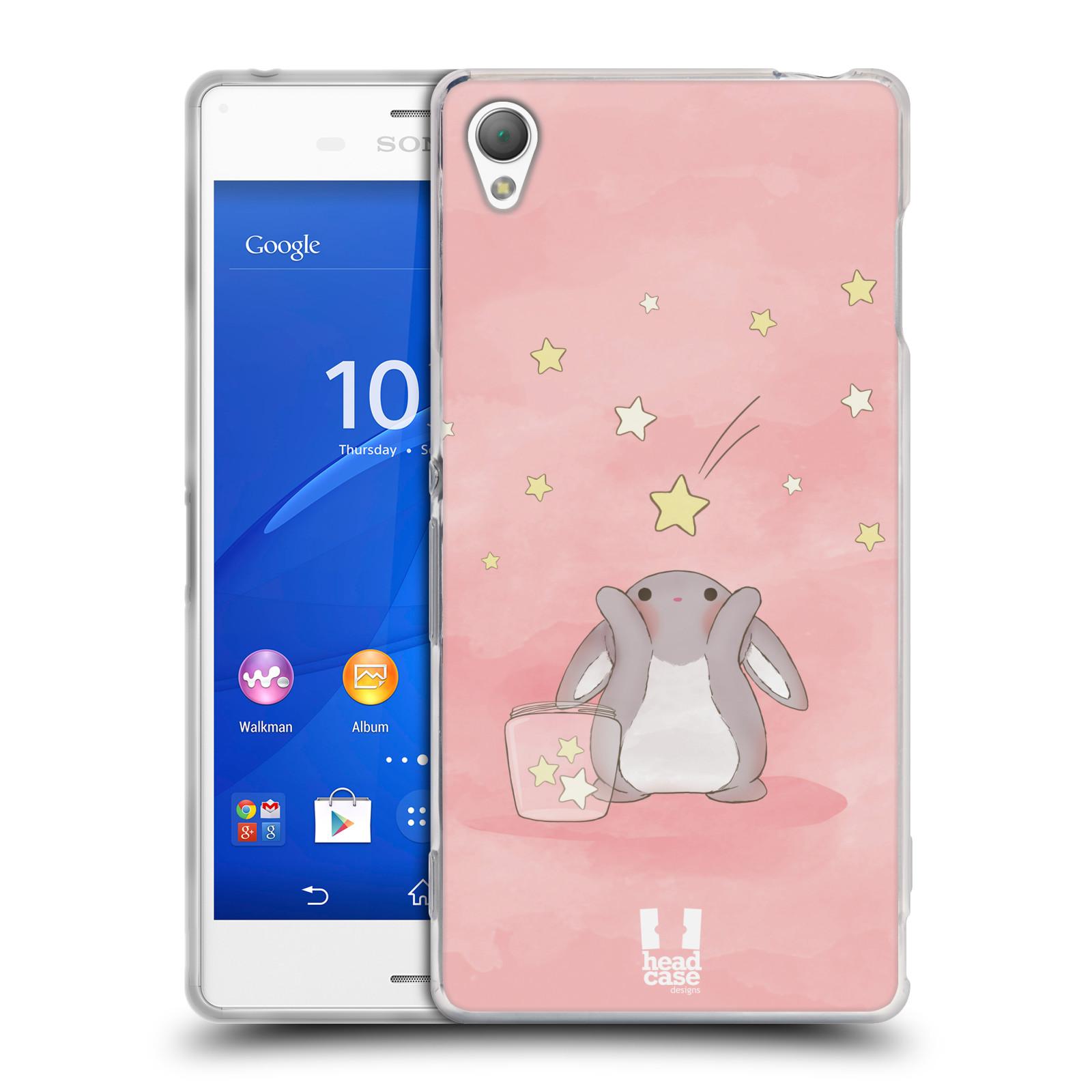 HEAD CASE silikonový obal na mobil Sony Xperia Z3 vzor králíček a hvězdy růžová