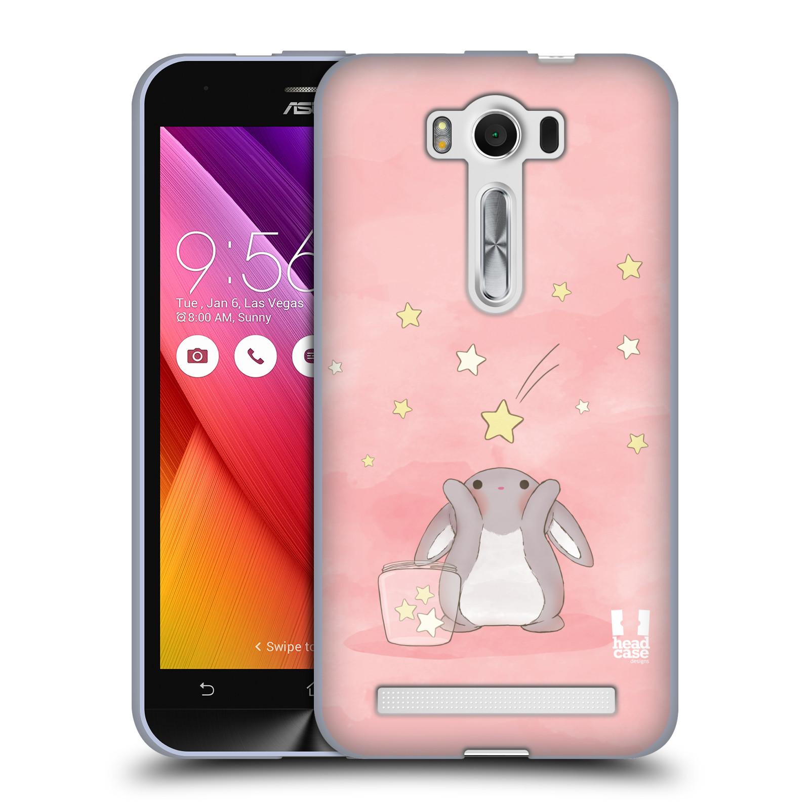 """HEAD CASE silikonový obal na mobil Asus Zenfone 2 LASER (ZE500KL s 5"""" displejem) vzor králíček a hvězdy růžová"""