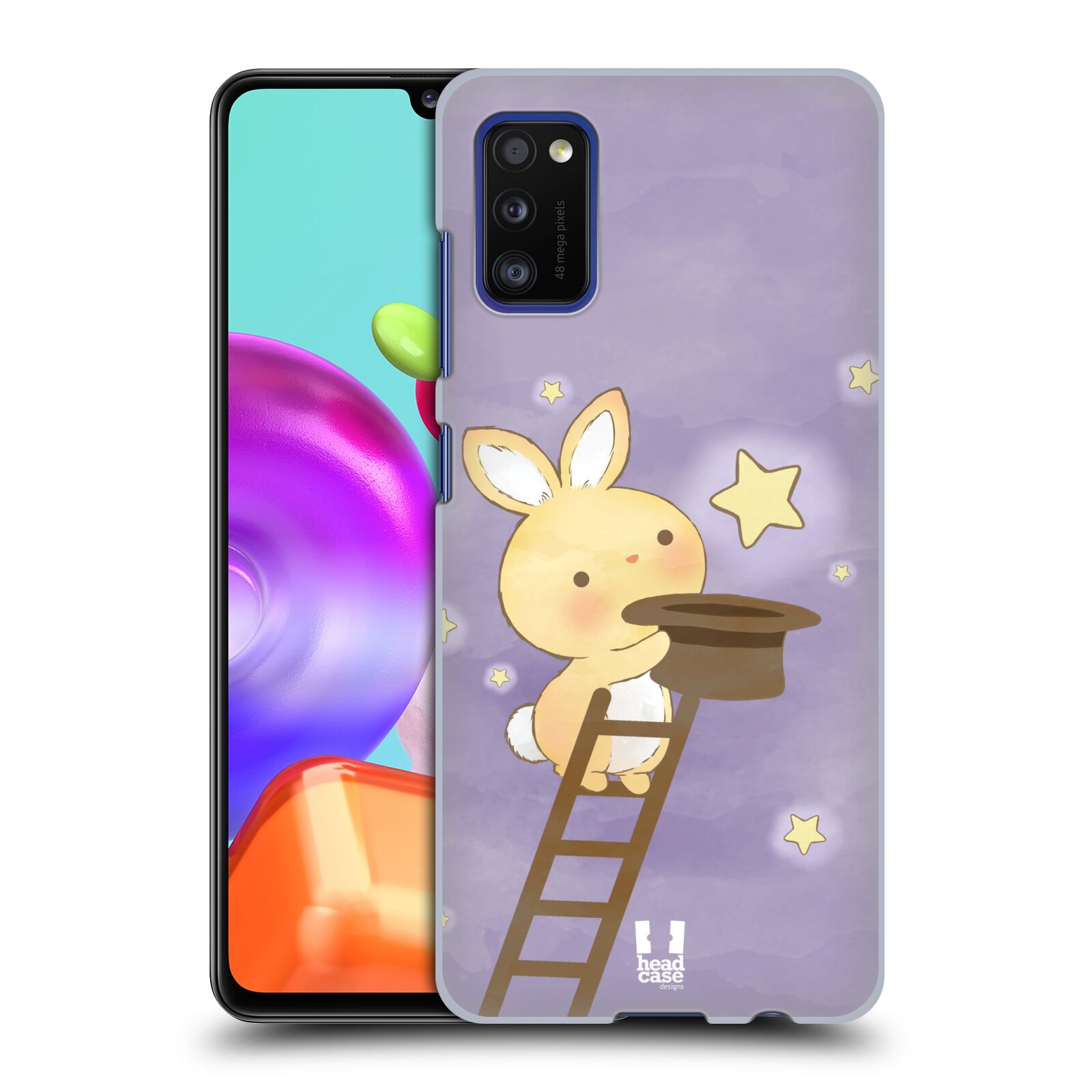 Zadní kryt na mobil Samsung Galaxy A41 vzor králíček a hvězdy fialová