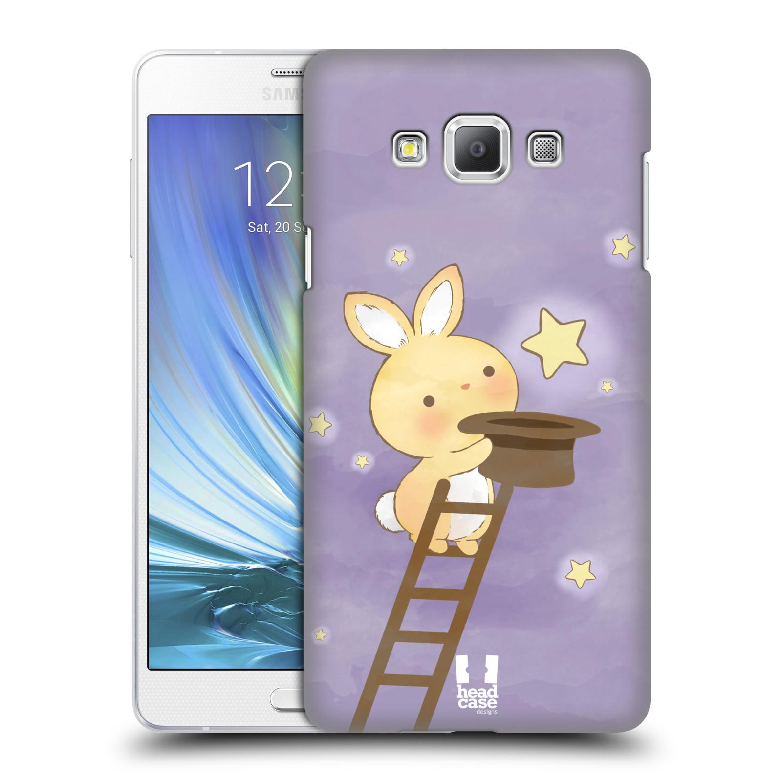 HEAD CASE plastový obal na mobil SAMSUNG GALAXY A7 vzor králíček a hvězdy fialová