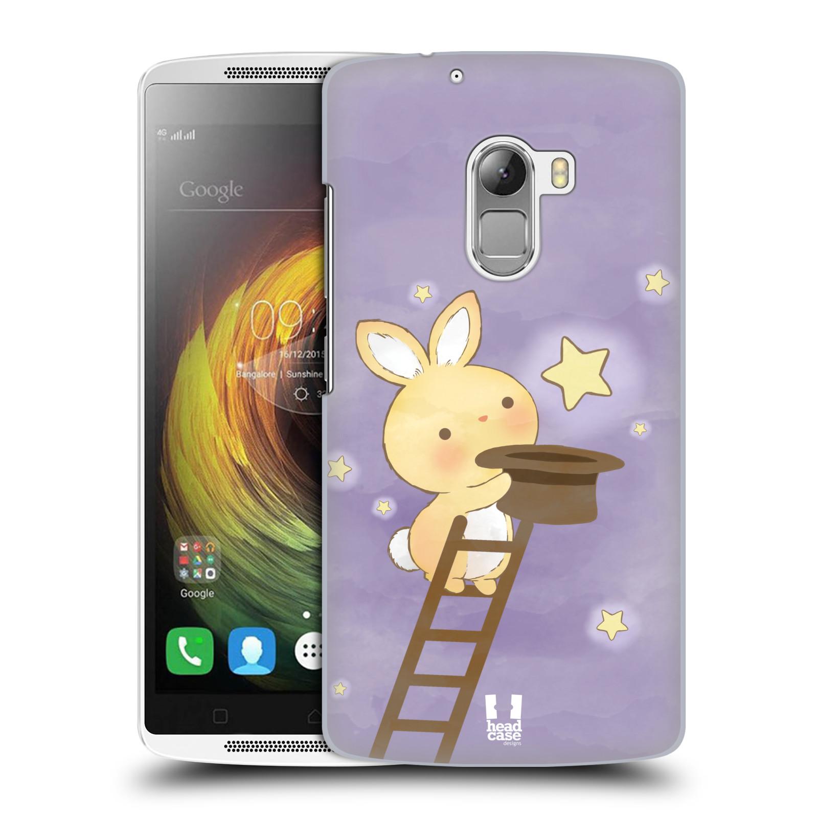 HEAD CASE pevný plastový obal na mobil LENOVO A7010 / A7010 DUAL / K4 Note / Vibe X3 lite vzor králíček a hvězdy fialová
