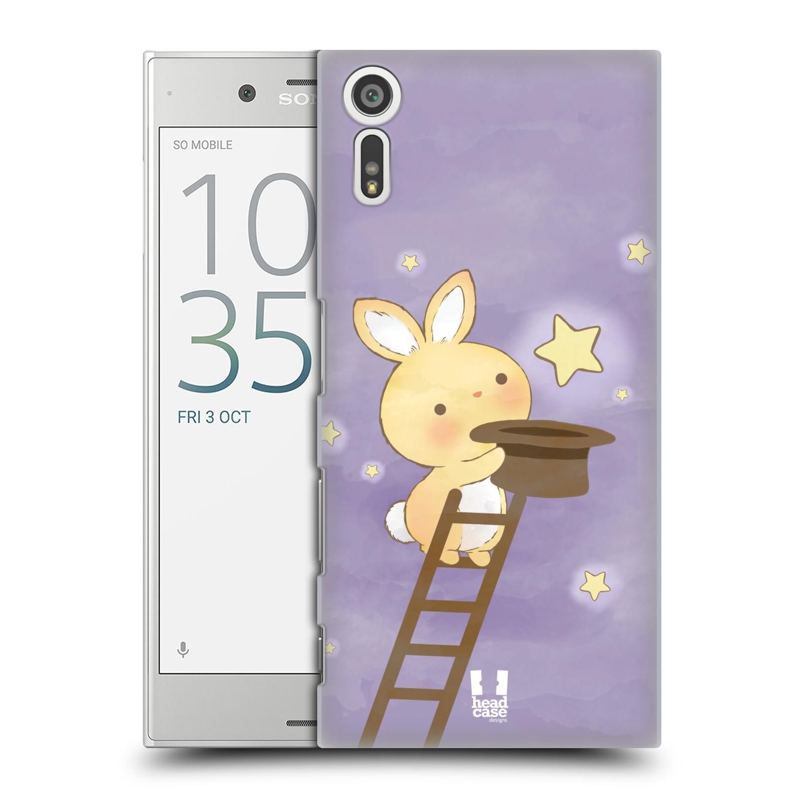 HEAD CASE plastový obal na mobil Sony Xperia XZ vzor králíček a hvězdy fialová