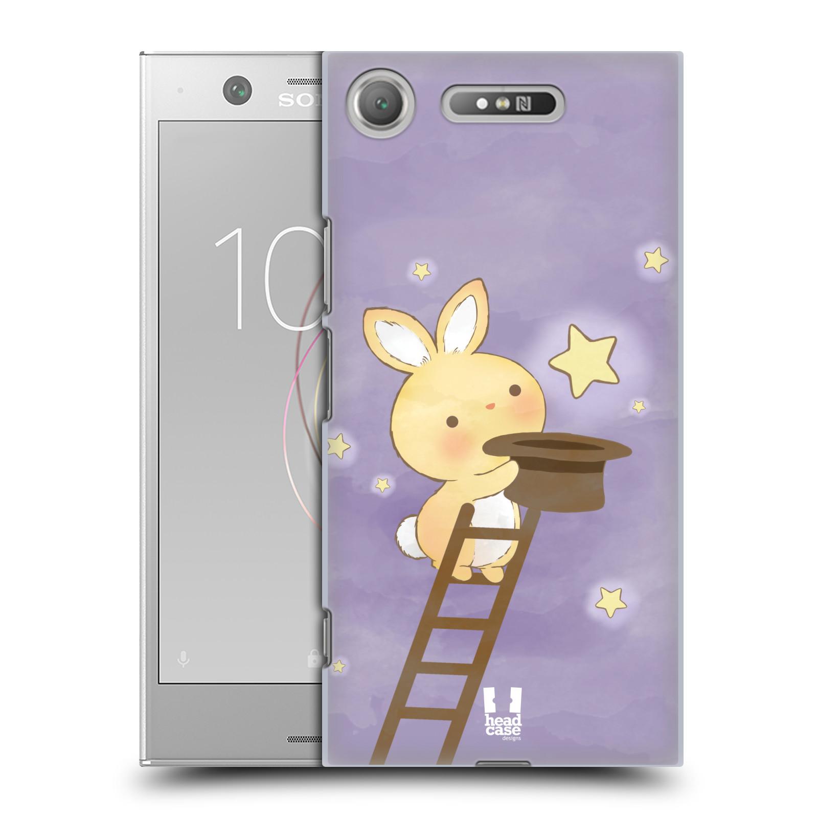 HEAD CASE plastový obal na mobil Sony Xperia XZ1 vzor králíček a hvězdy fialová