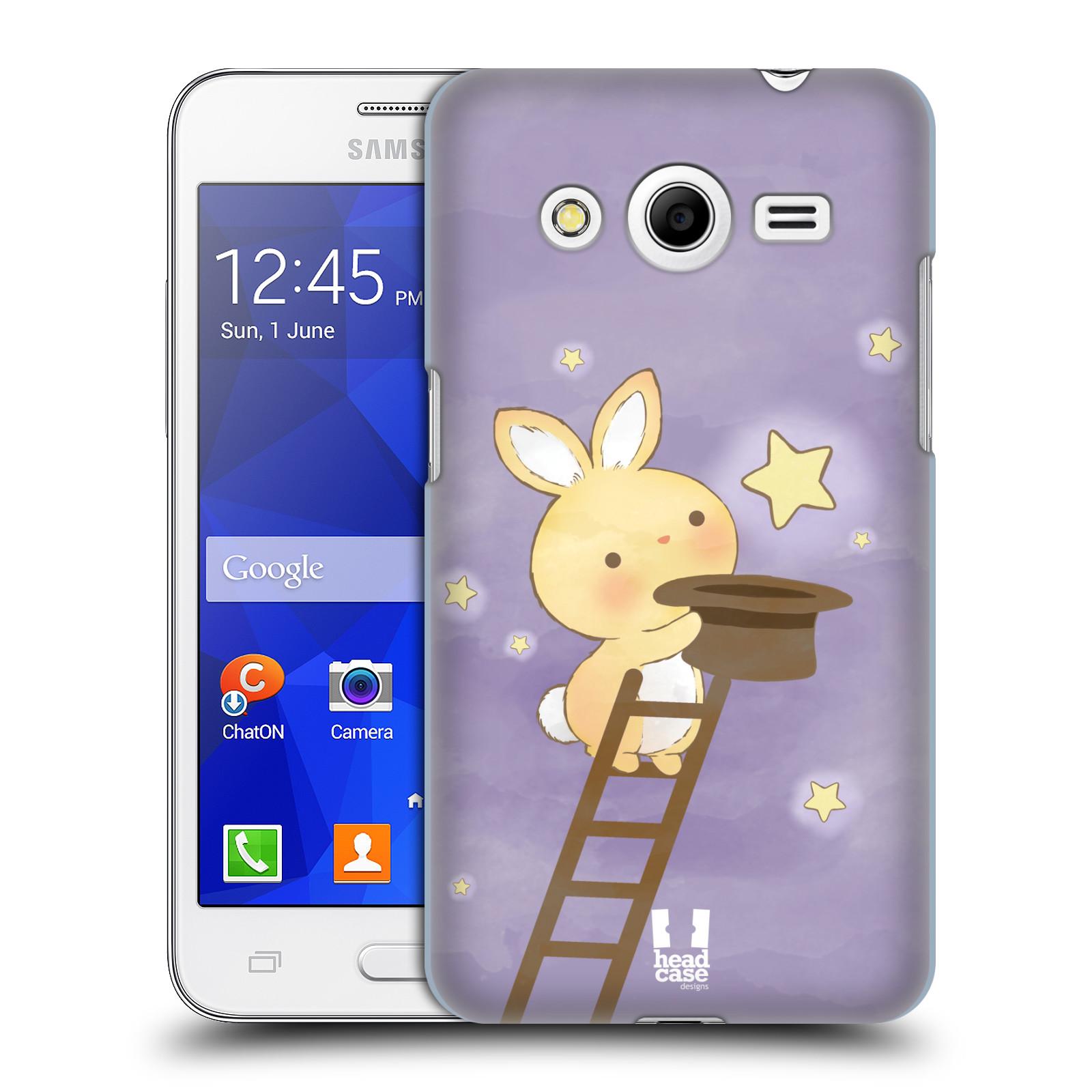 HEAD CASE plastový obal na mobil SAMSUNG GALAXY Core 2 (G355H) vzor králíček a hvězdy fialová