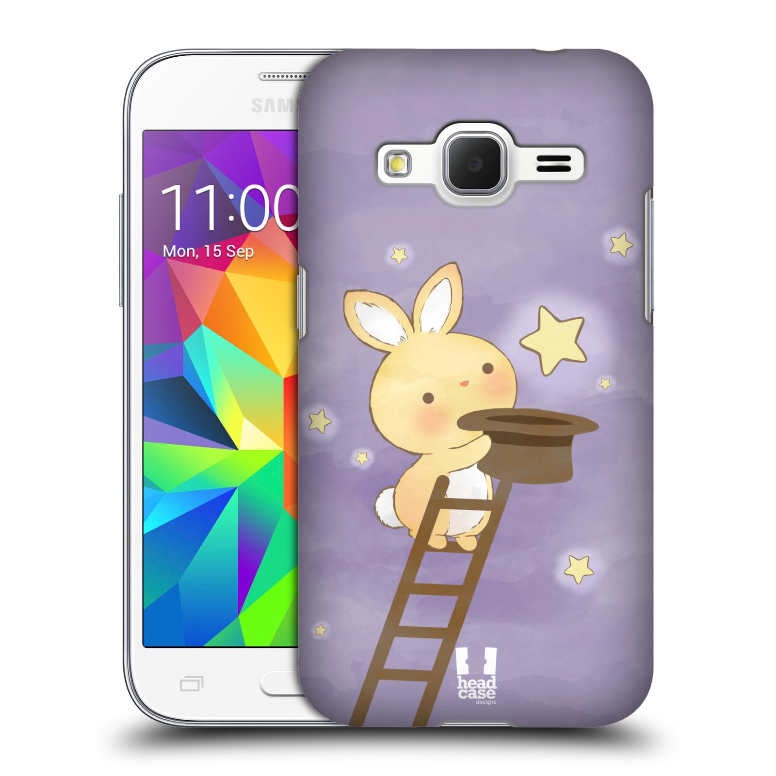 HEAD CASE plastový obal na mobil SAMSUNG GALAXY Core Prime (Core Prime VE) vzor králíček a hvězdy fialová
