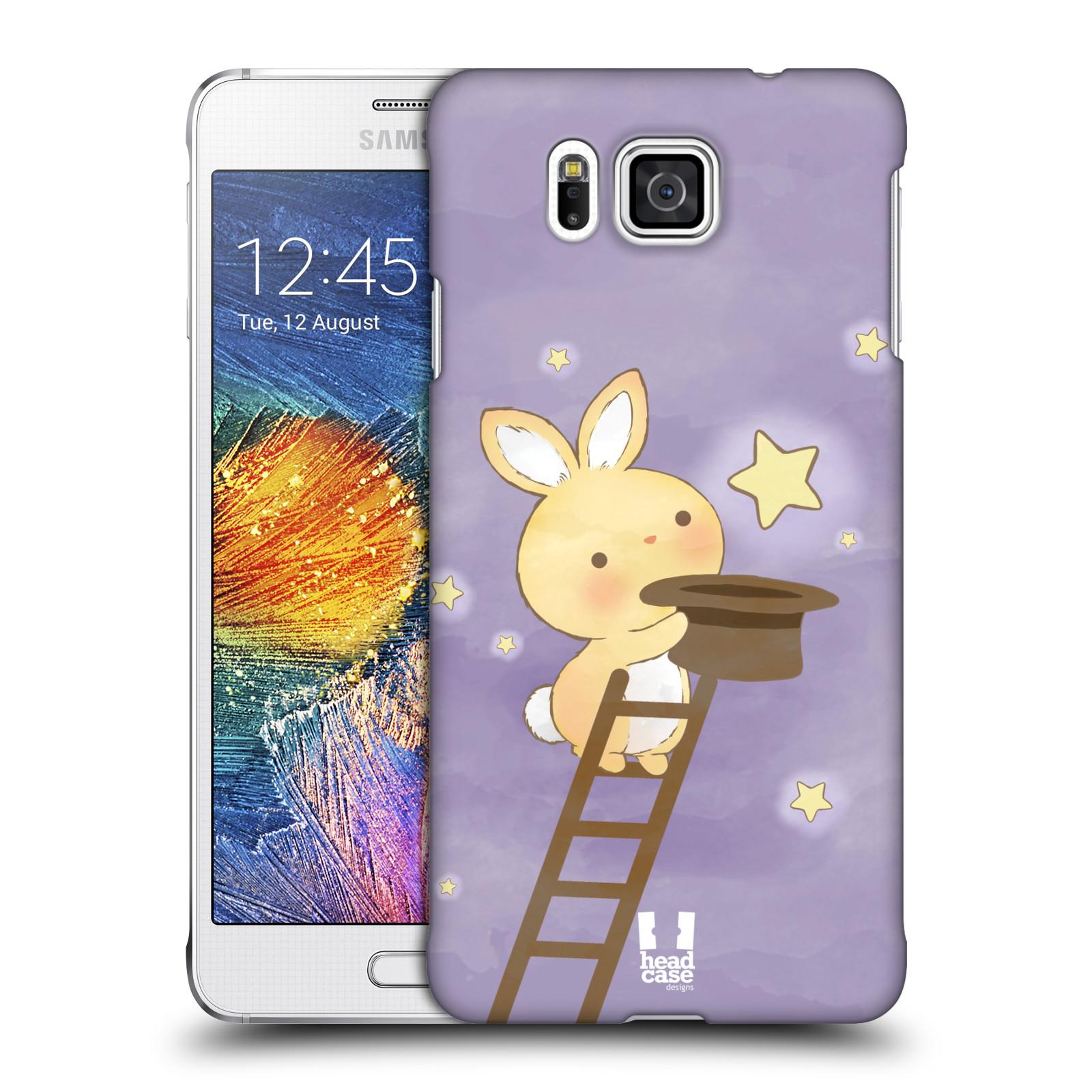 HEAD CASE plastový obal na mobil SAMSUNG Galaxy Alpha (G850) vzor králíček a hvězdy fialová
