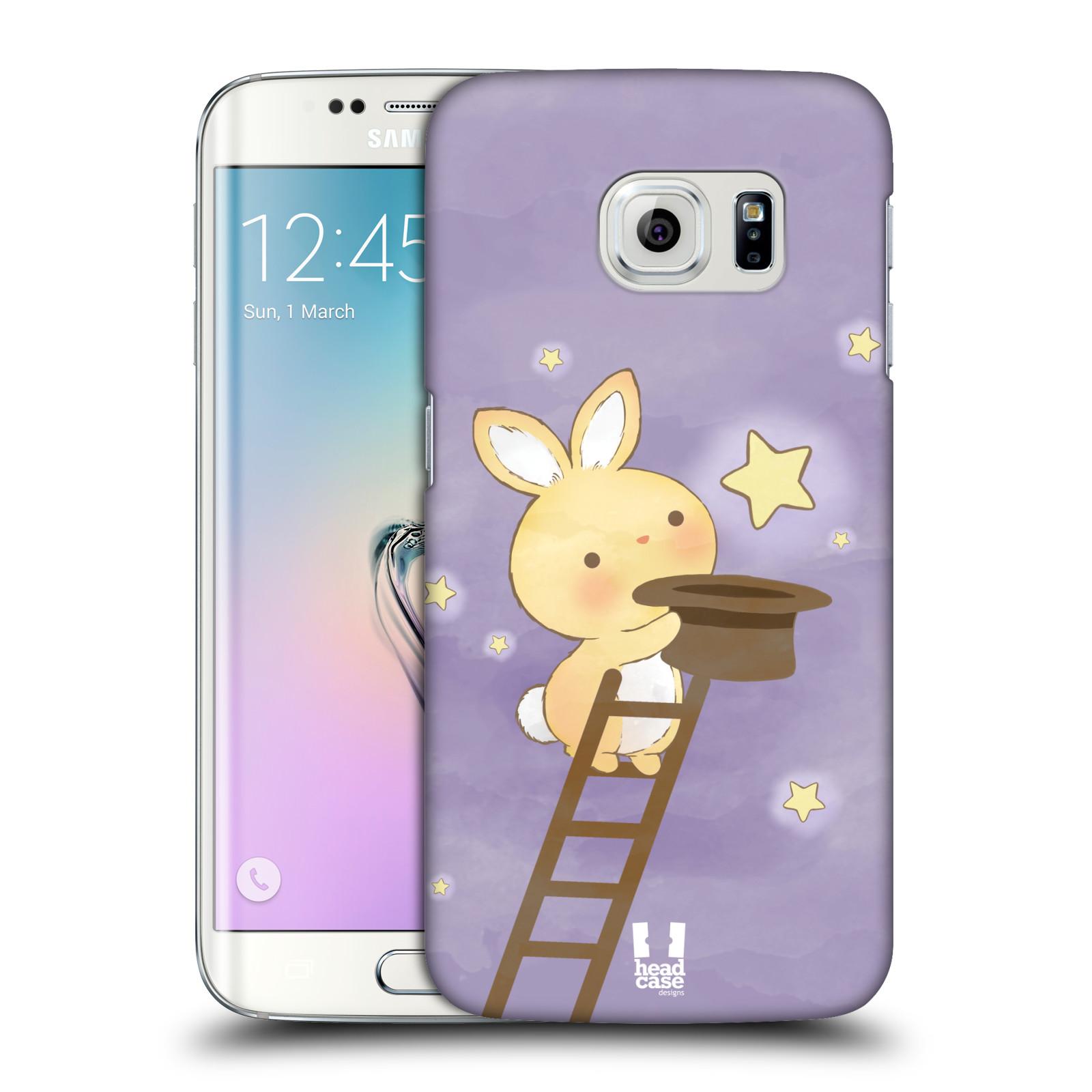 HEAD CASE plastový obal na mobil SAMSUNG Galaxy S6 EDGE (G9250, G925, G925F) vzor králíček a hvězdy fialová