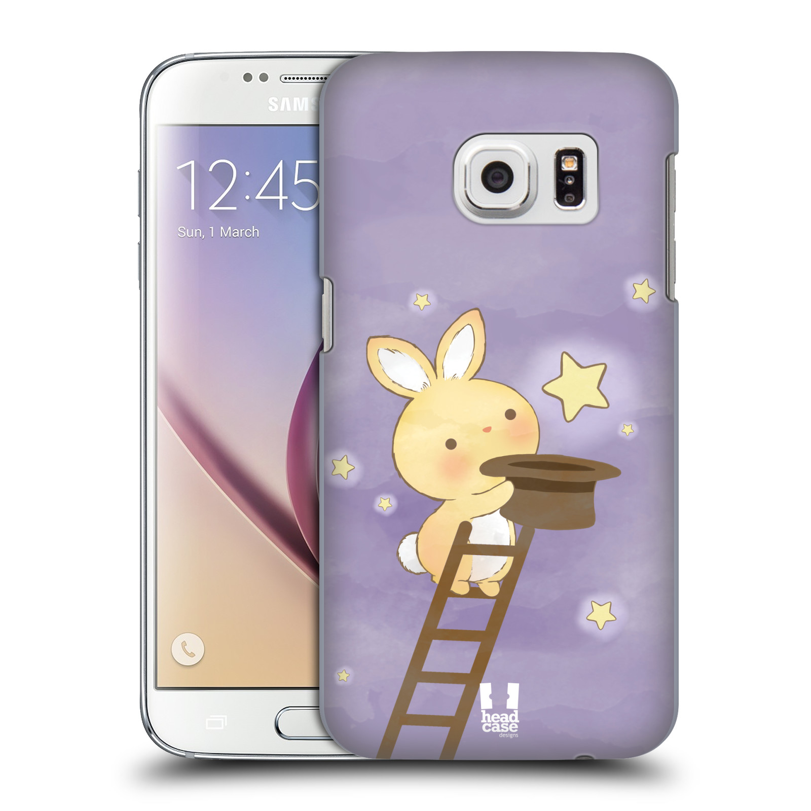HEAD CASE plastový obal na mobil SAMSUNG GALAXY S7 vzor králíček a hvězdy fialová