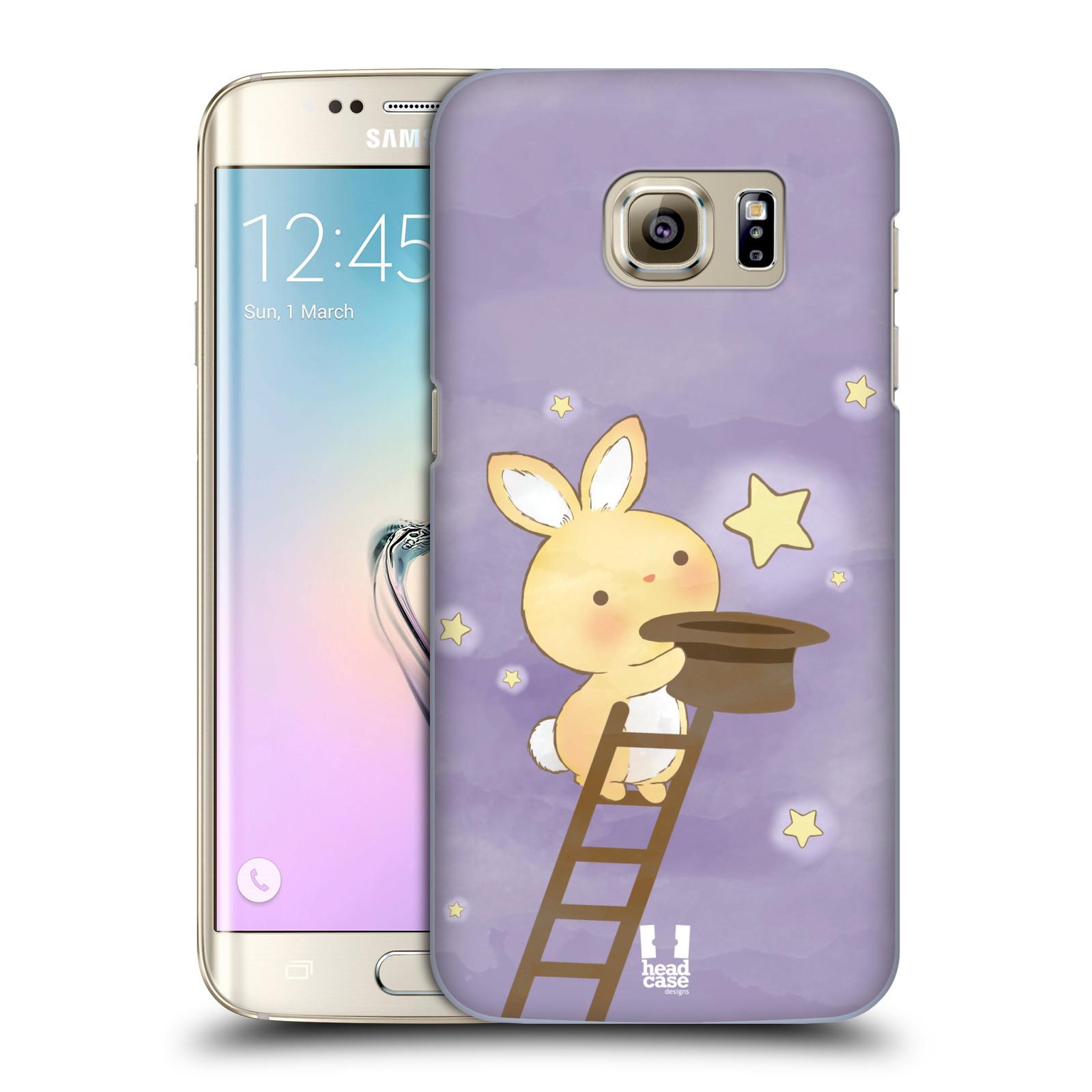 HEAD CASE plastový obal na mobil SAMSUNG GALAXY S7 EDGE vzor králíček a hvězdy fialová