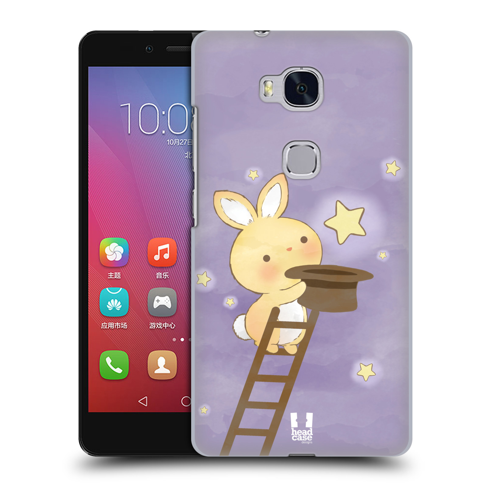 HEAD CASE pevný plastový obal na mobil HUAWEI HONOR 5X vzor králíček a hvězdy fialová