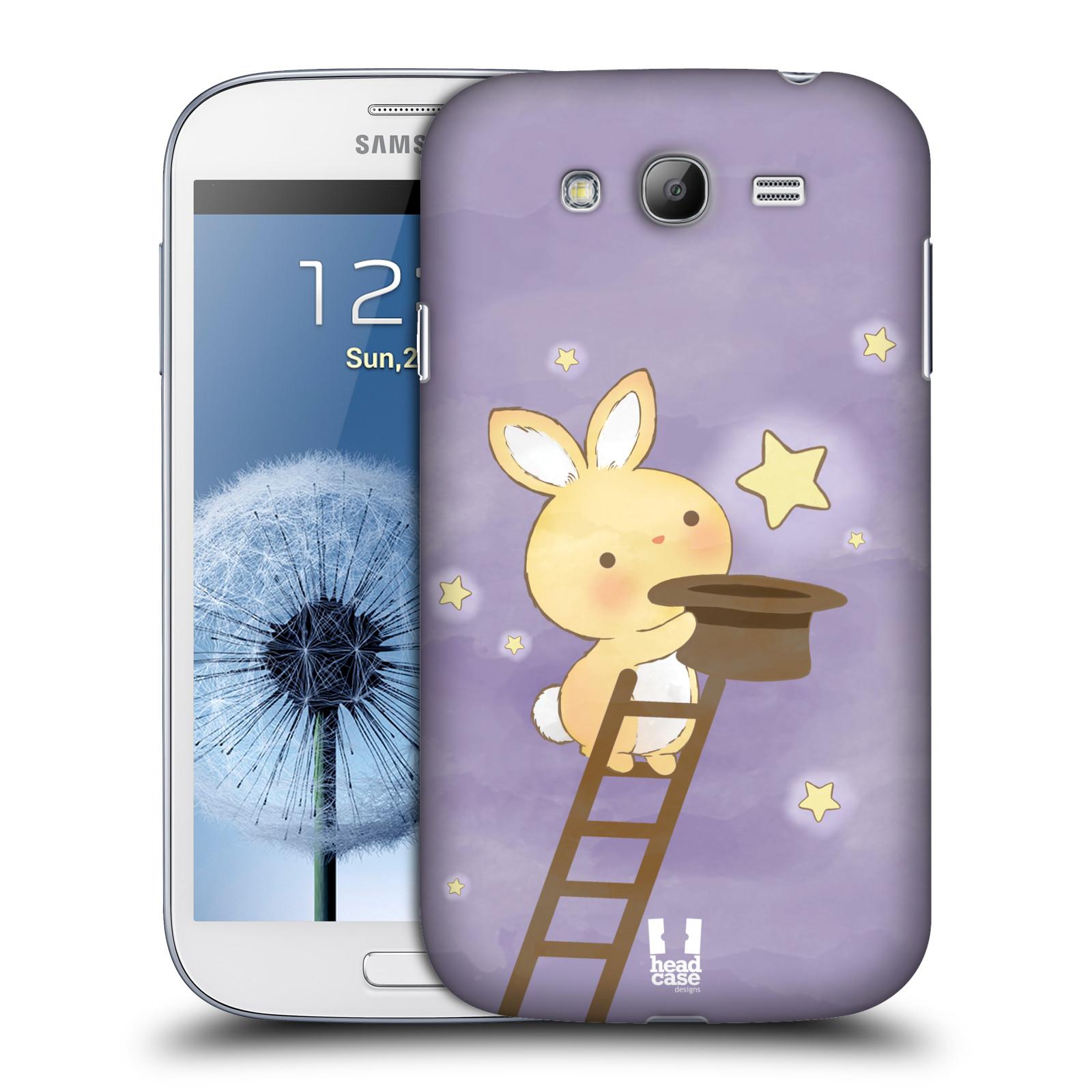 HEAD CASE plastový obal na mobil SAMSUNG GALAXY Grand i9080 vzor králíček a hvězdy fialová