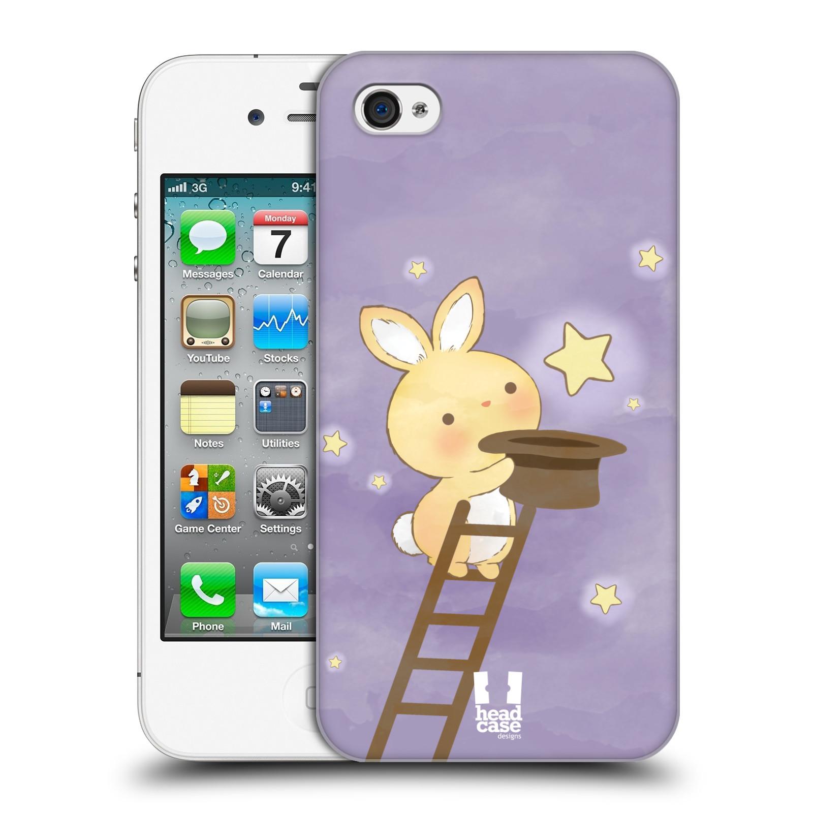 HEAD CASE plastový obal na mobil Apple Iphone 4/4S vzor králíček a hvězdy fialová