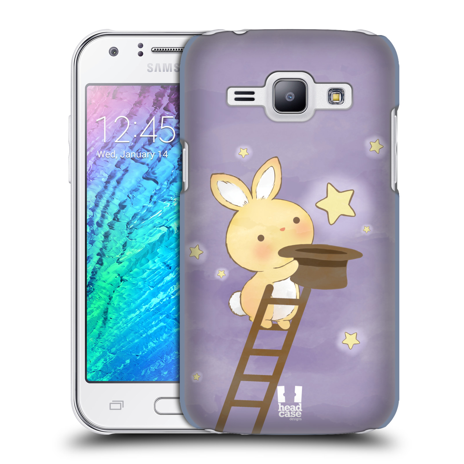 HEAD CASE plastový obal na mobil SAMSUNG Galaxy J1, J100 vzor králíček a hvězdy fialová