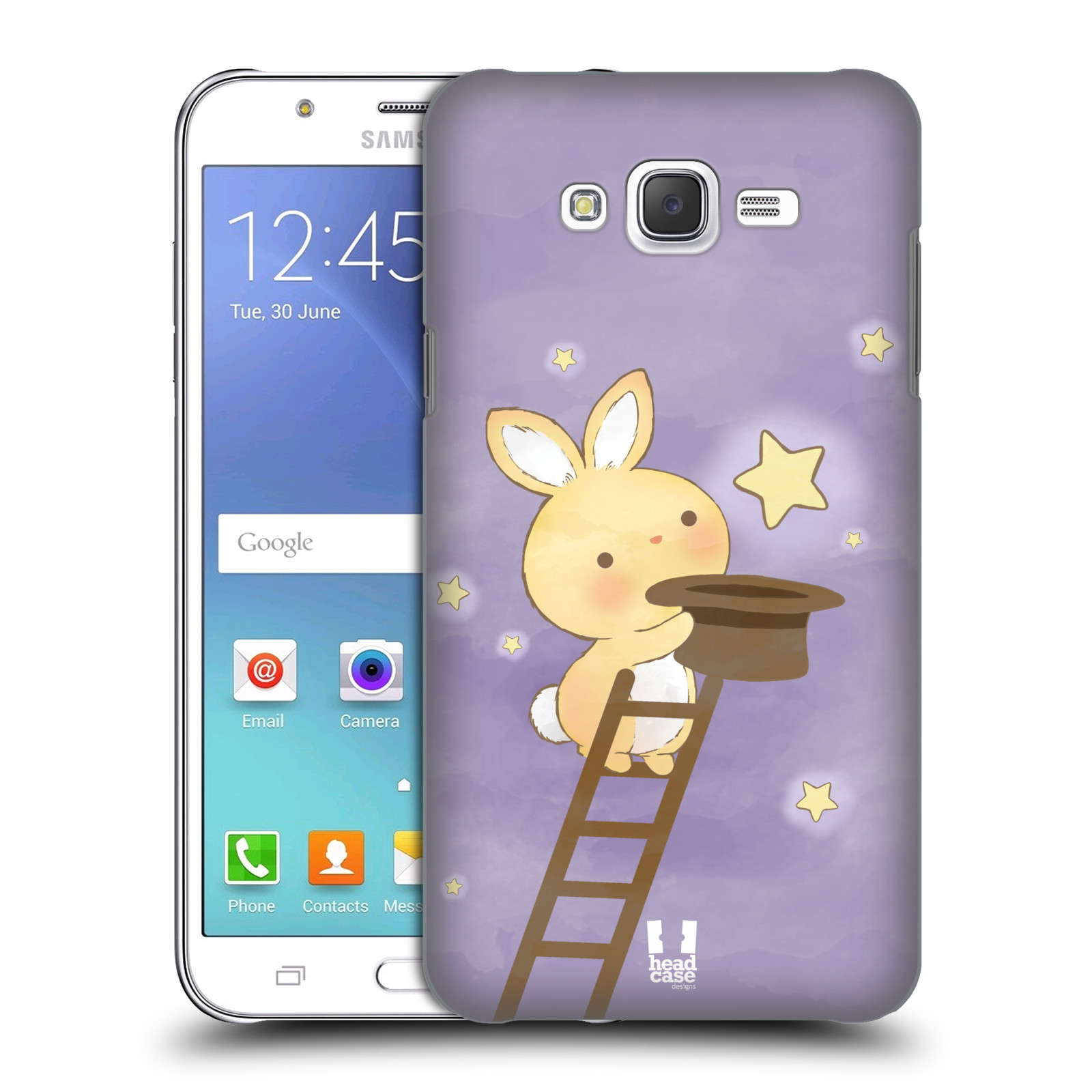 HEAD CASE plastový obal na mobil SAMSUNG Galaxy J7, J700 vzor králíček a hvězdy fialová