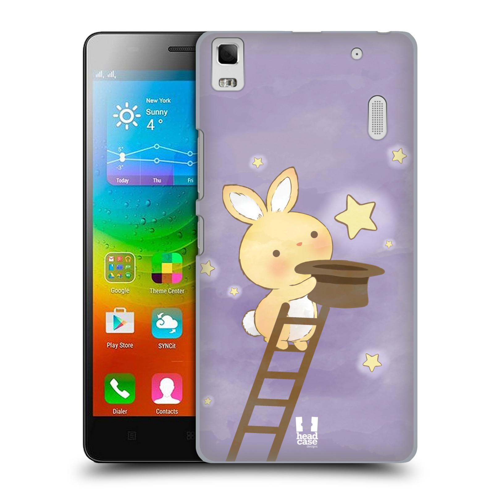 HEAD CASE pevný plastový obal na mobil LENOVO A7000 / A7000 DUAL / K3 NOTE vzor králíček a hvězdy fialová