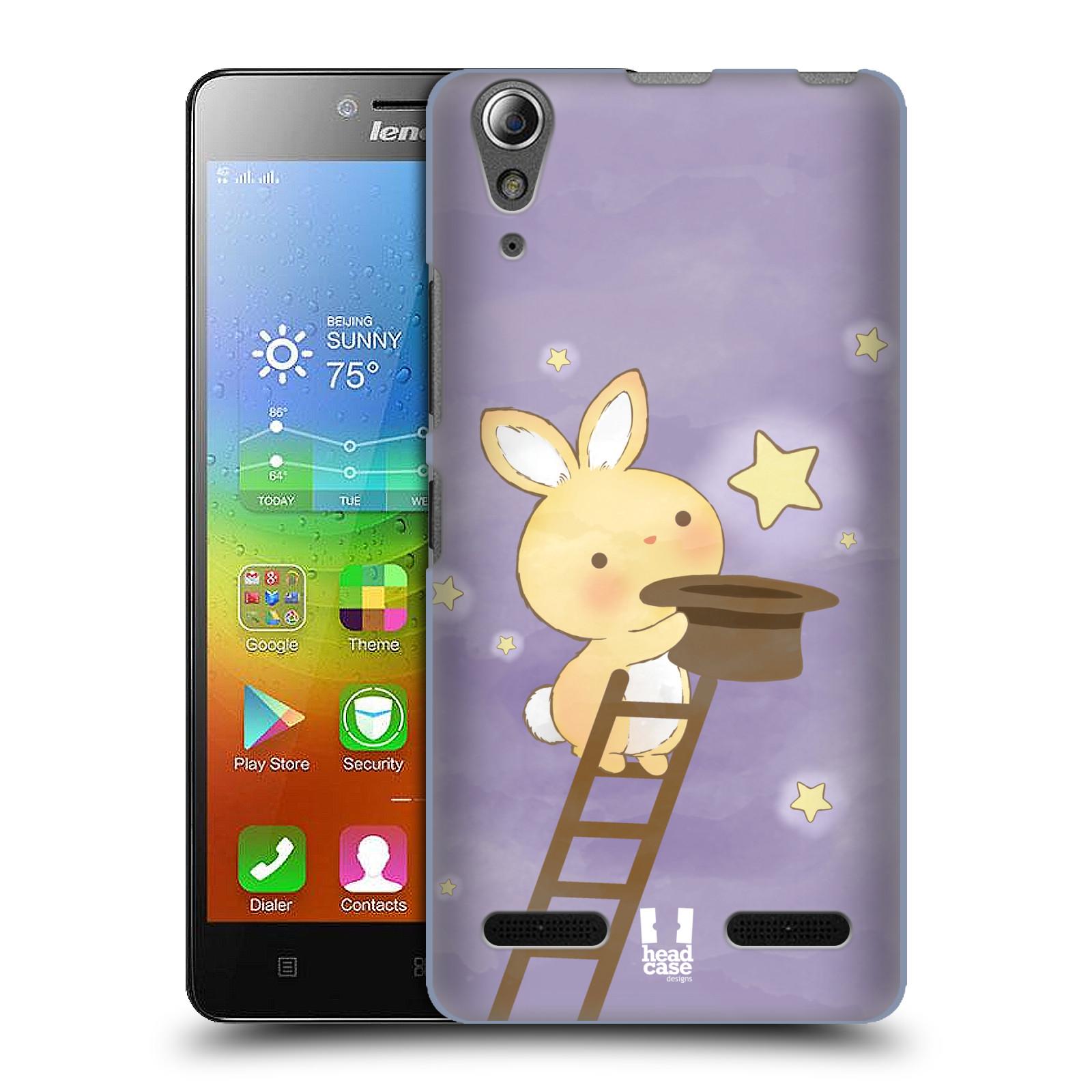 HEAD CASE pevný plastový obal na mobil LENOVO A6000 / A6000 PLUS vzor králíček a hvězdy fialová