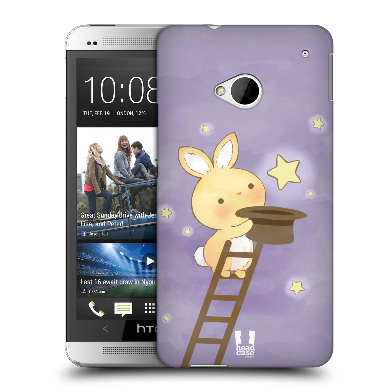 HEAD CASE plastový obal na mobil HTC One (M7) vzor králíček a hvězdy fialová