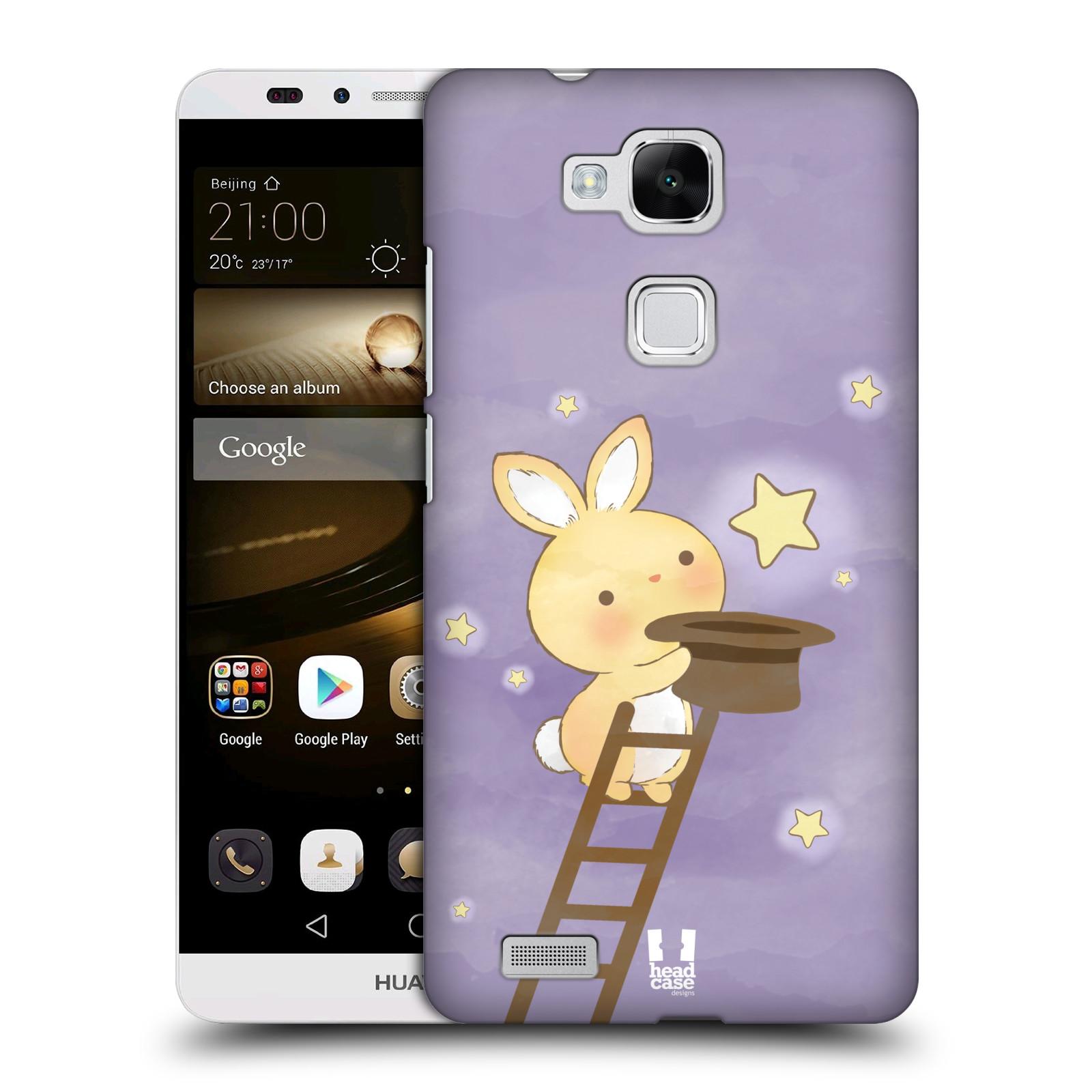 HEAD CASE plastový obal na mobil Huawei Mate 7 vzor králíček a hvězdy fialová