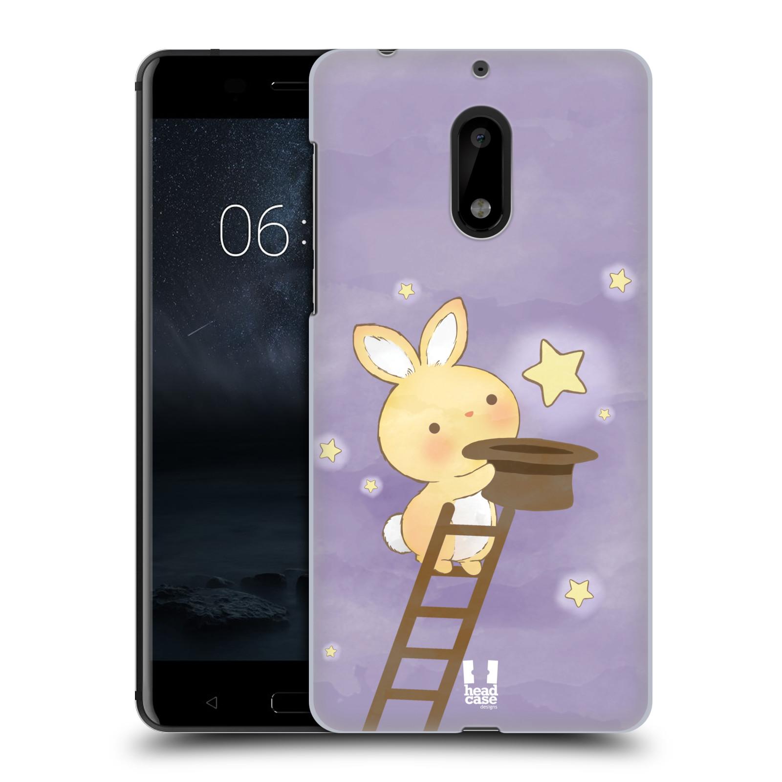 HEAD CASE plastový obal na mobil Nokia 6 vzor králíček a hvězdy fialová