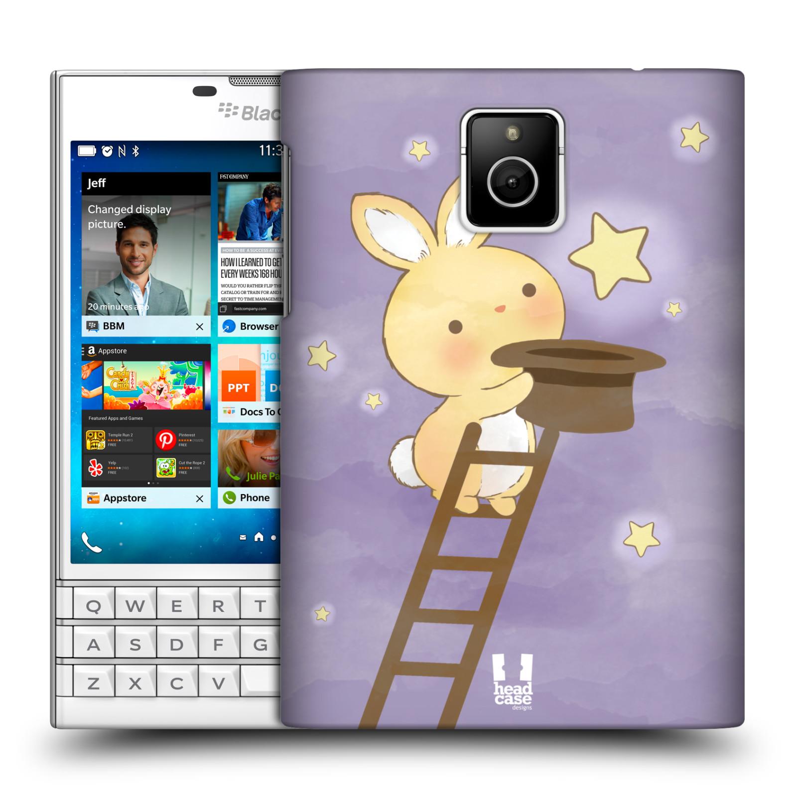 HEAD CASE plastový obal na mobil BlackBerry Passport vzor králíček a hvězdy fialová