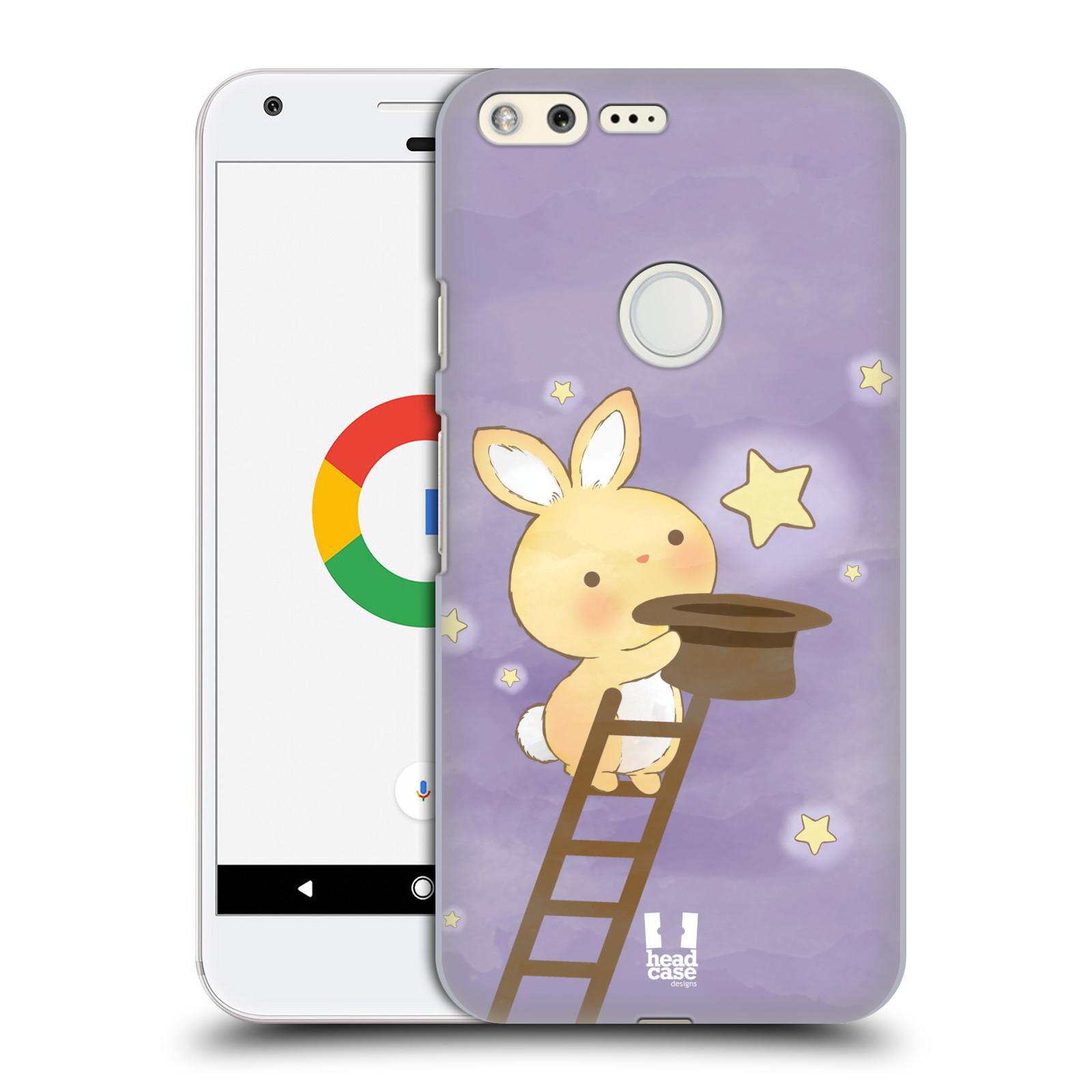 HEAD CASE plastový obal na mobil GOOGLE Pixel vzor králíček a hvězdy fialová