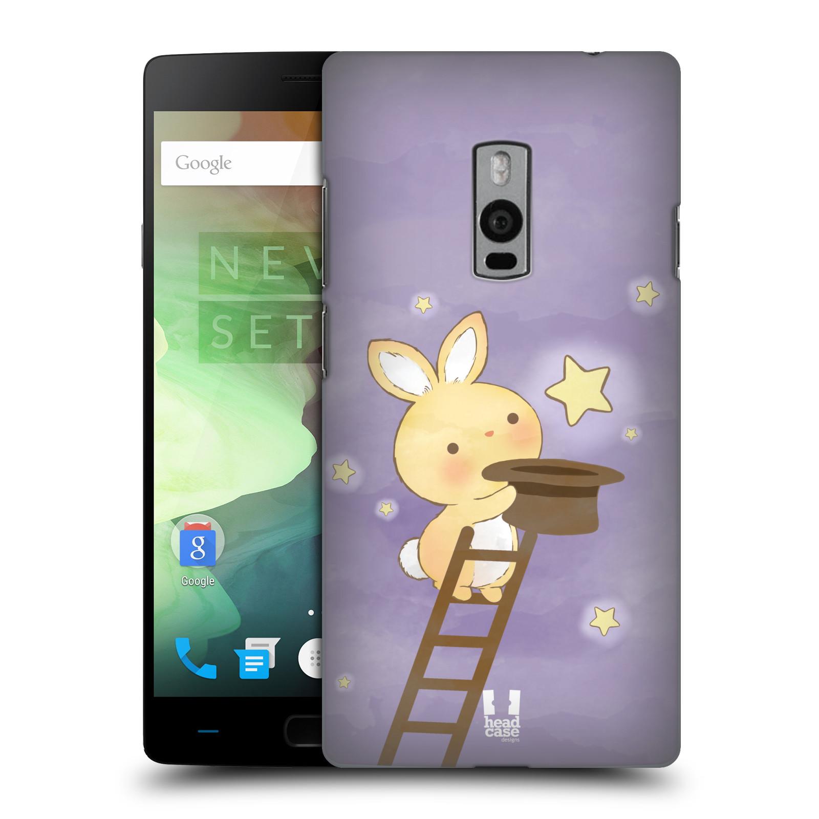 HEAD CASE pevný plastový obal na mobil OnePlus 2  ( TWO ) vzor králíček a hvězdy fialová