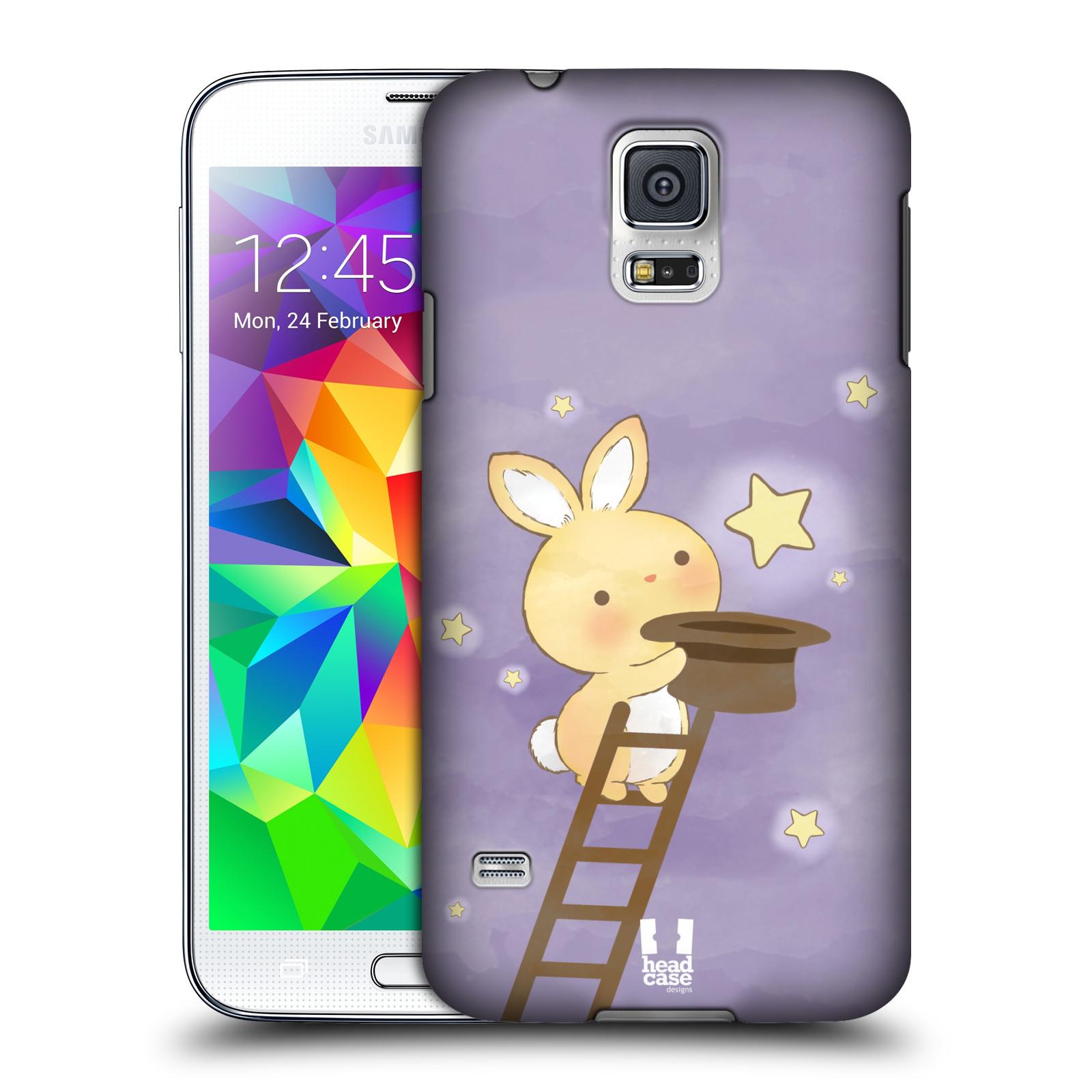 HEAD CASE plastový obal na mobil SAMSUNG Galaxy SS / S5 NEO (G900, G903F) vzor králíček a hvězdy fialová
