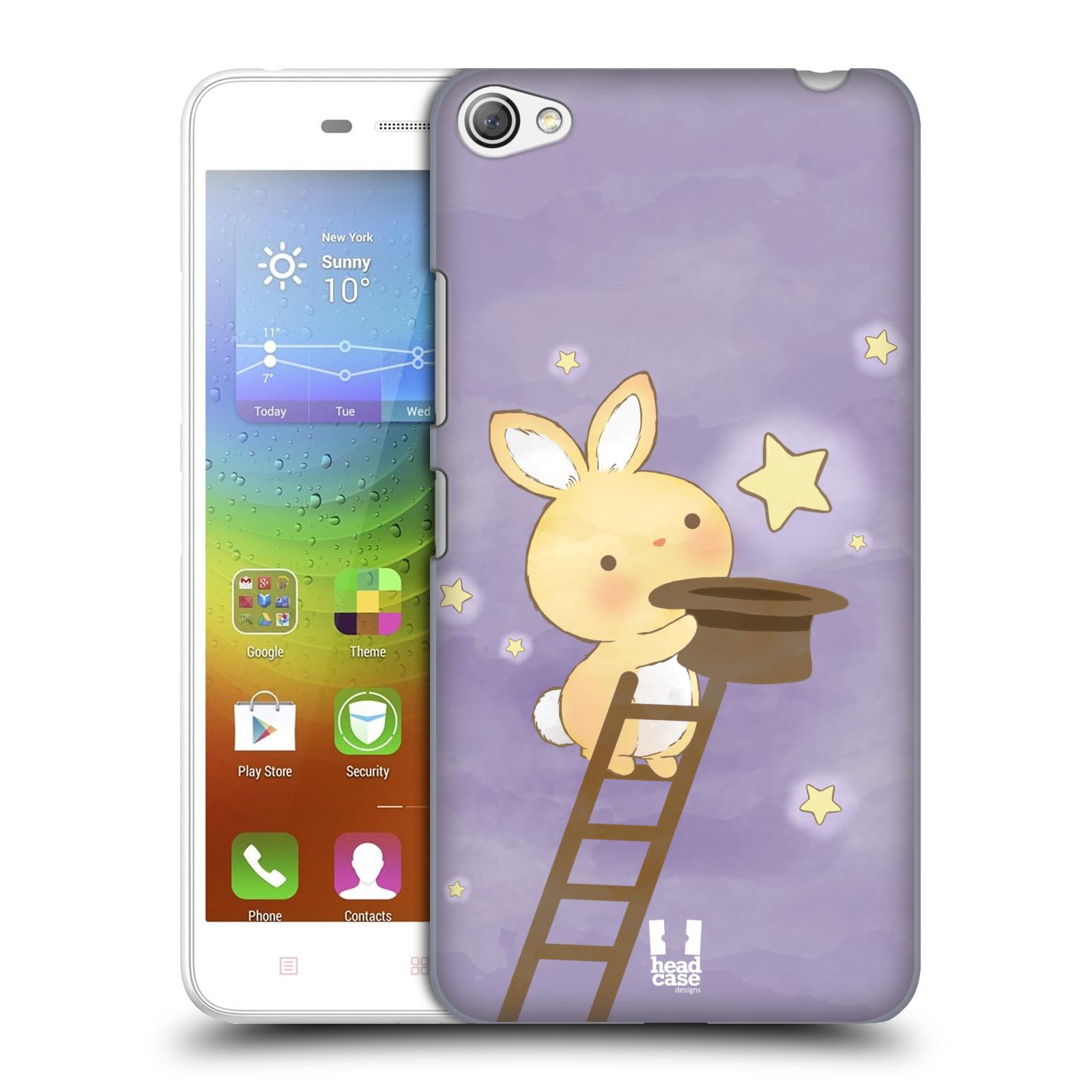 HEAD CASE pevný plastový obal na mobil LENOVO S60 / LENOVO S60 DUAL SIM vzor králíček a hvězdy fialová