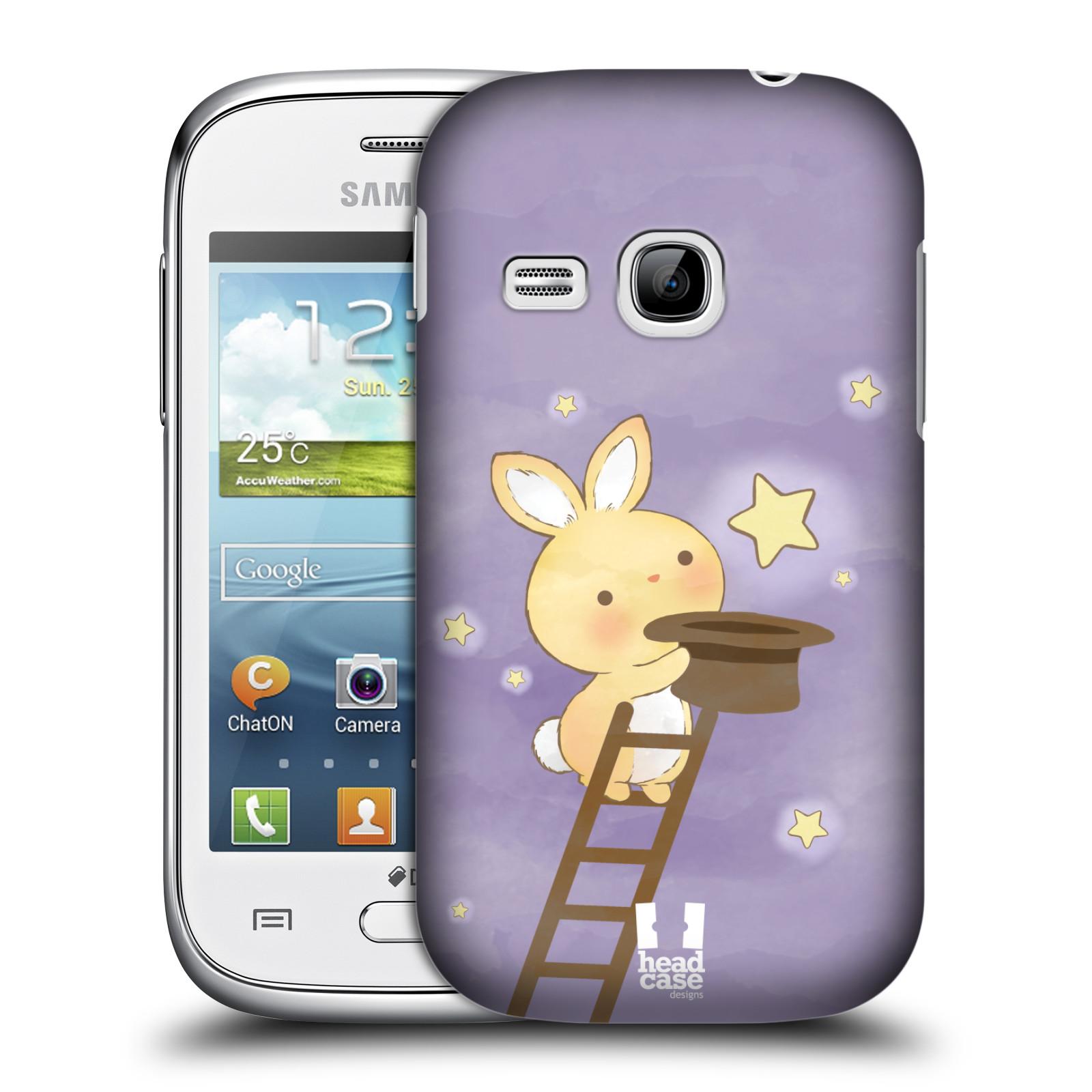 HEAD CASE plastový obal na mobil SAMSUNG Galaxy Young S6310 vzor králíček a hvězdy fialová