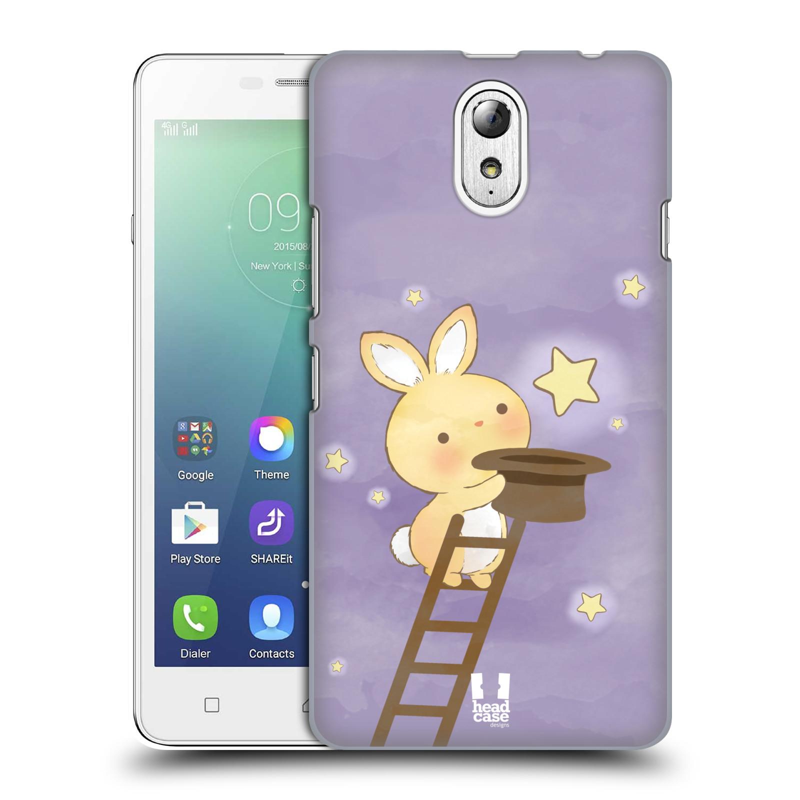 HEAD CASE pevný plastový obal na mobil LENOVO VIBE P1m / LENOVO VIBE p1m DUAL SIM vzor králíček a hvězdy fialová