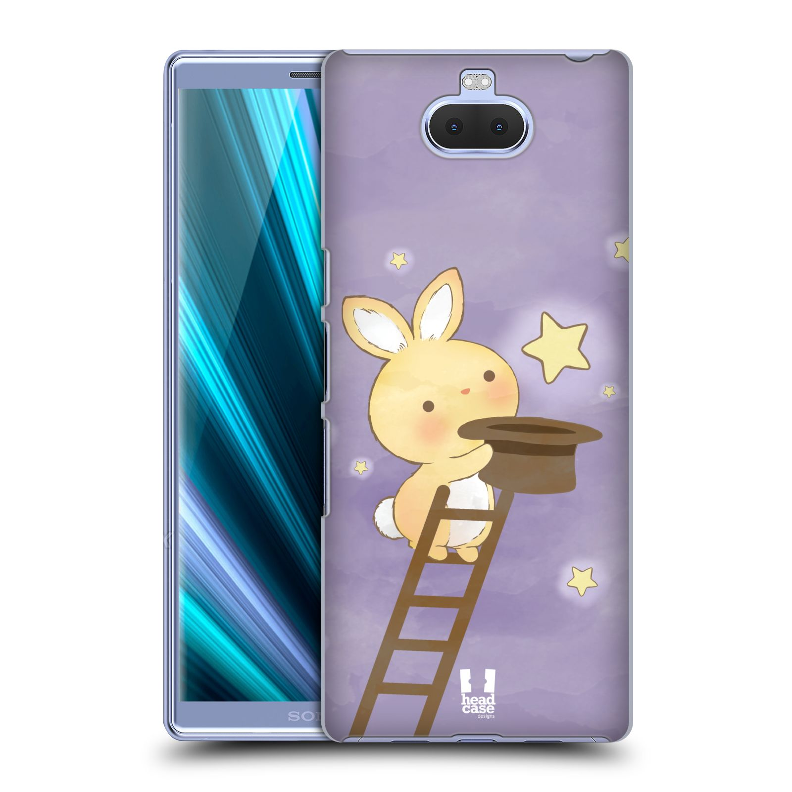 Pouzdro na mobil Sony Xperia 10 - Head Case - vzor králíček a hvězdy fialová