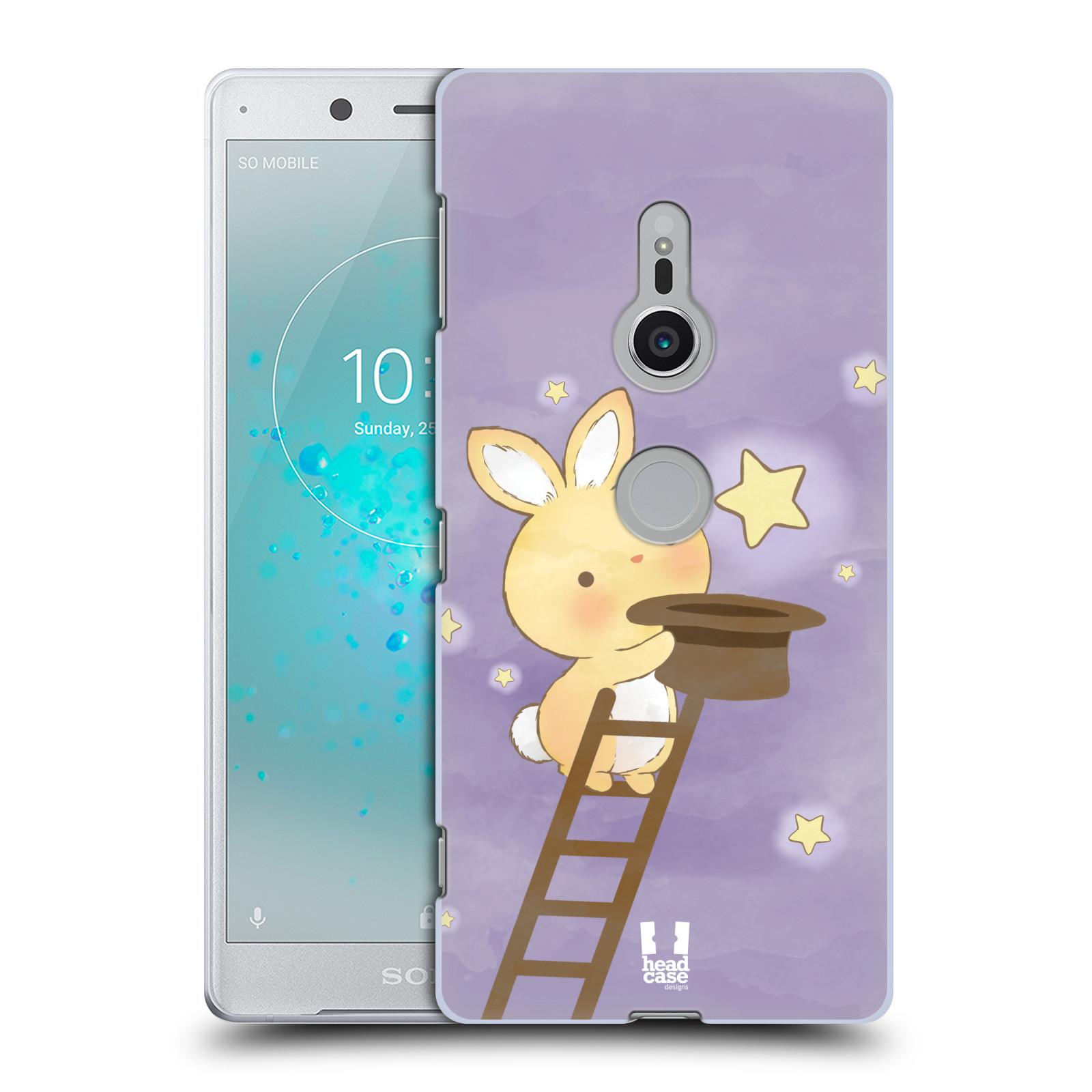 HEAD CASE plastový obal na mobil Sony Xperia XZ2 vzor králíček a hvězdy fialová