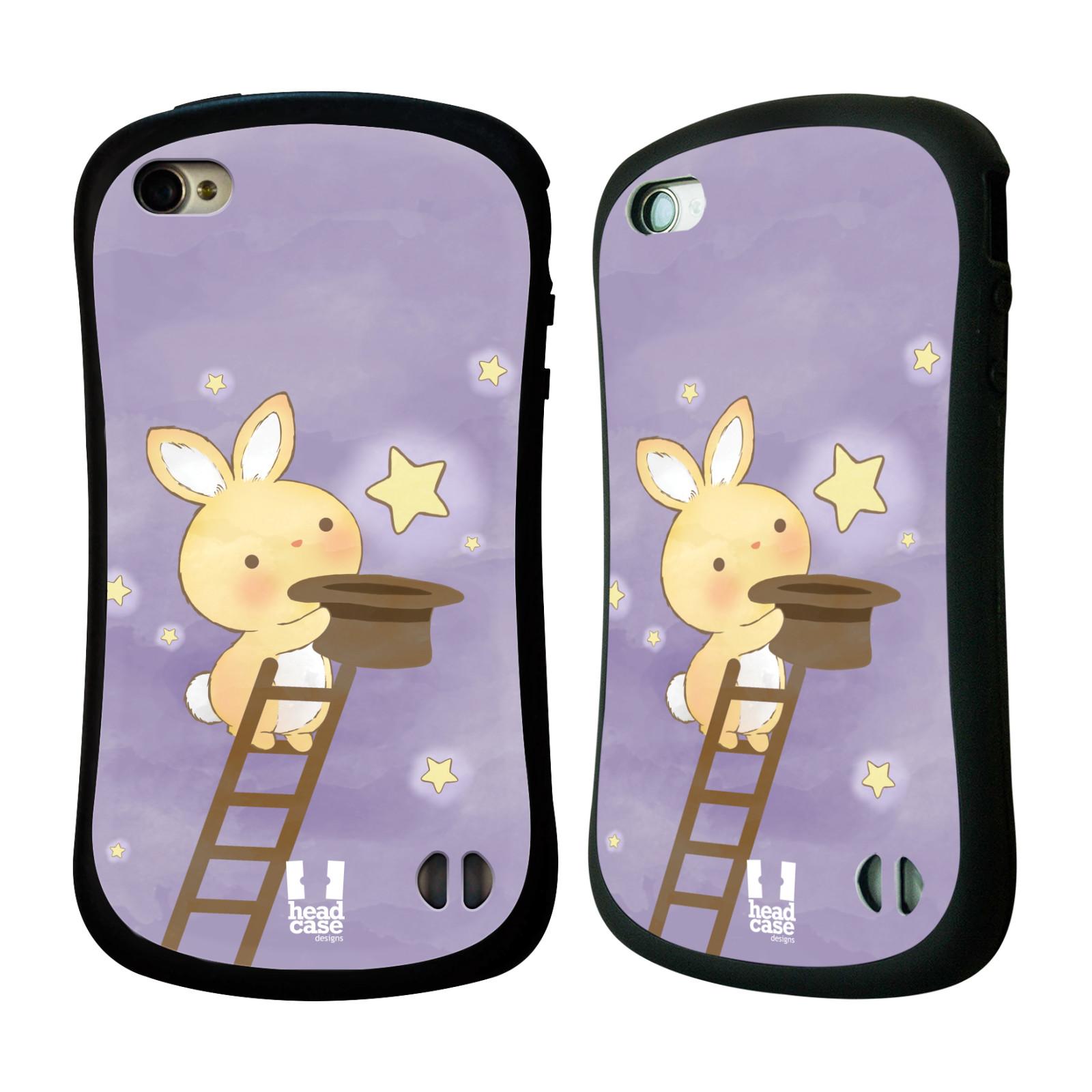 HEAD CASE silikon/plast odolný obal na mobil Apple Iphone 4/4S vzor králíček a hvězdy fialová