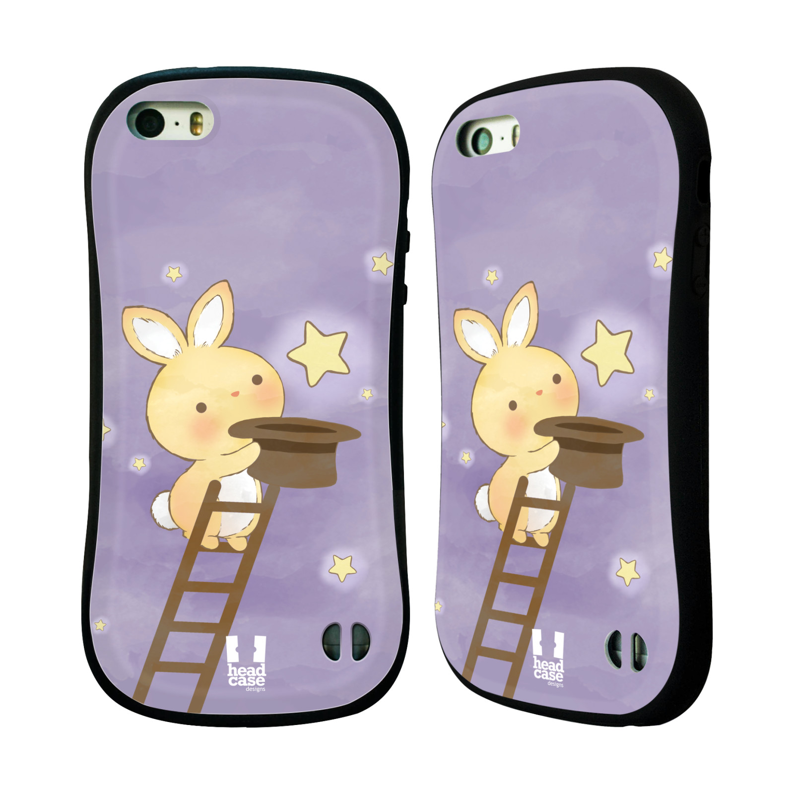 HEAD CASE silikon/plast odolný obal na mobil Apple Iphone 5/5S vzor králíček a hvězdy fialová
