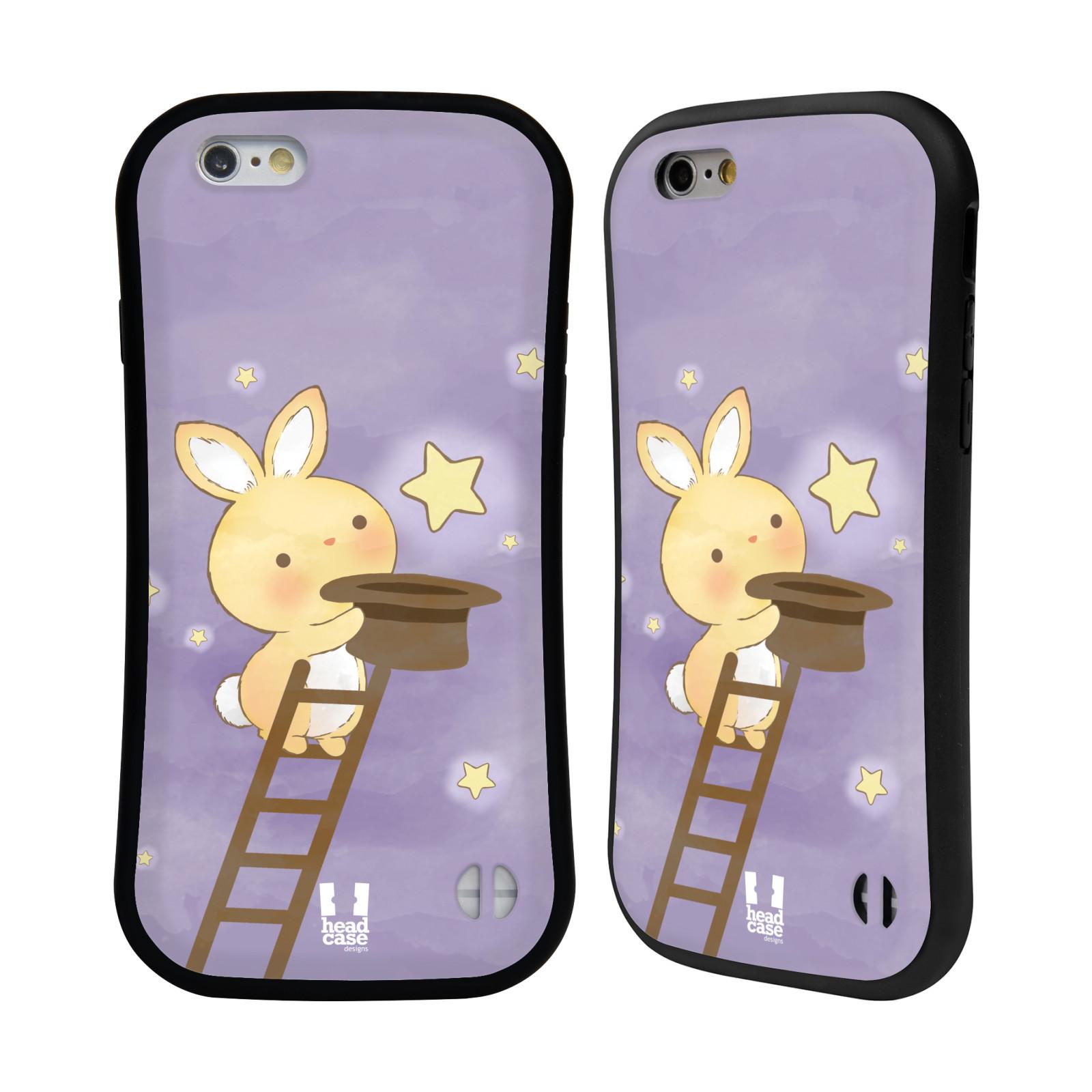 HEAD CASE silikon/plast odolný obal na mobil Apple Iphone 6/6S vzor králíček a hvězdy fialová