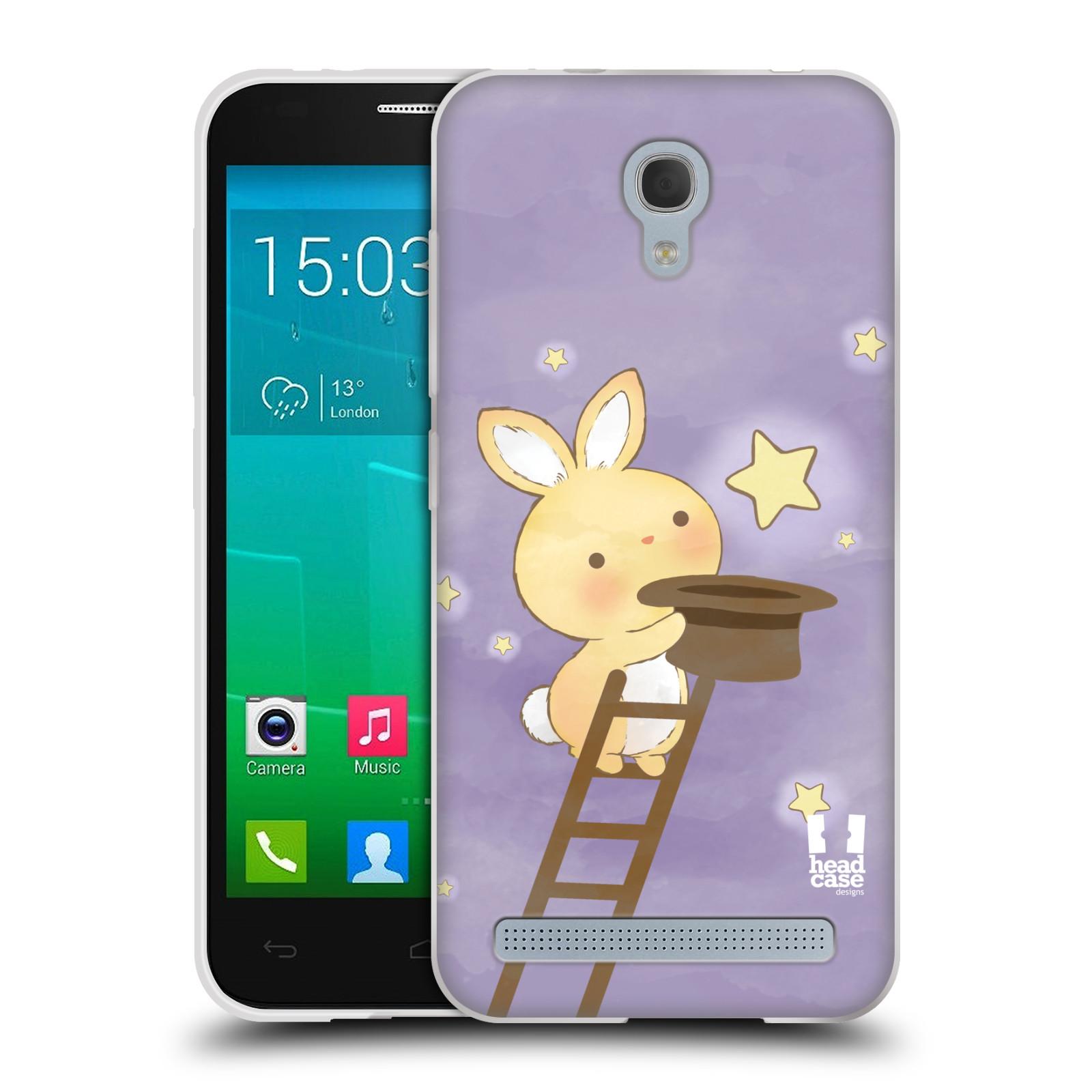 HEAD CASE silikonový obal na mobil Alcatel Idol 2 MINI S 6036Y vzor králíček a hvězdy fialová