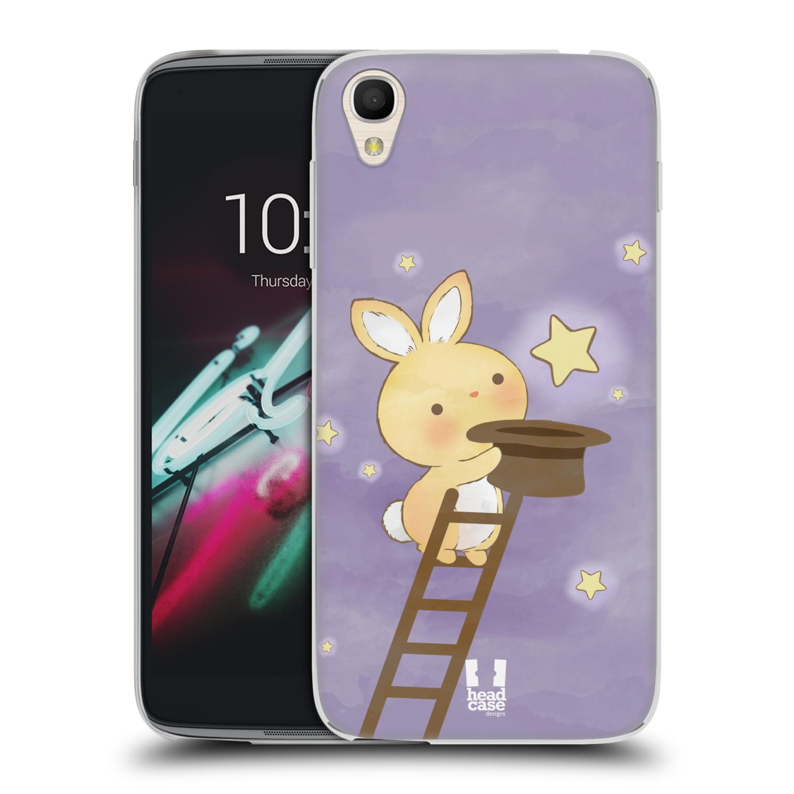 HEAD CASE silikonový obal na mobil Alcatel Idol 3 OT-6039Y (4.7) vzor králíček a hvězdy fialová