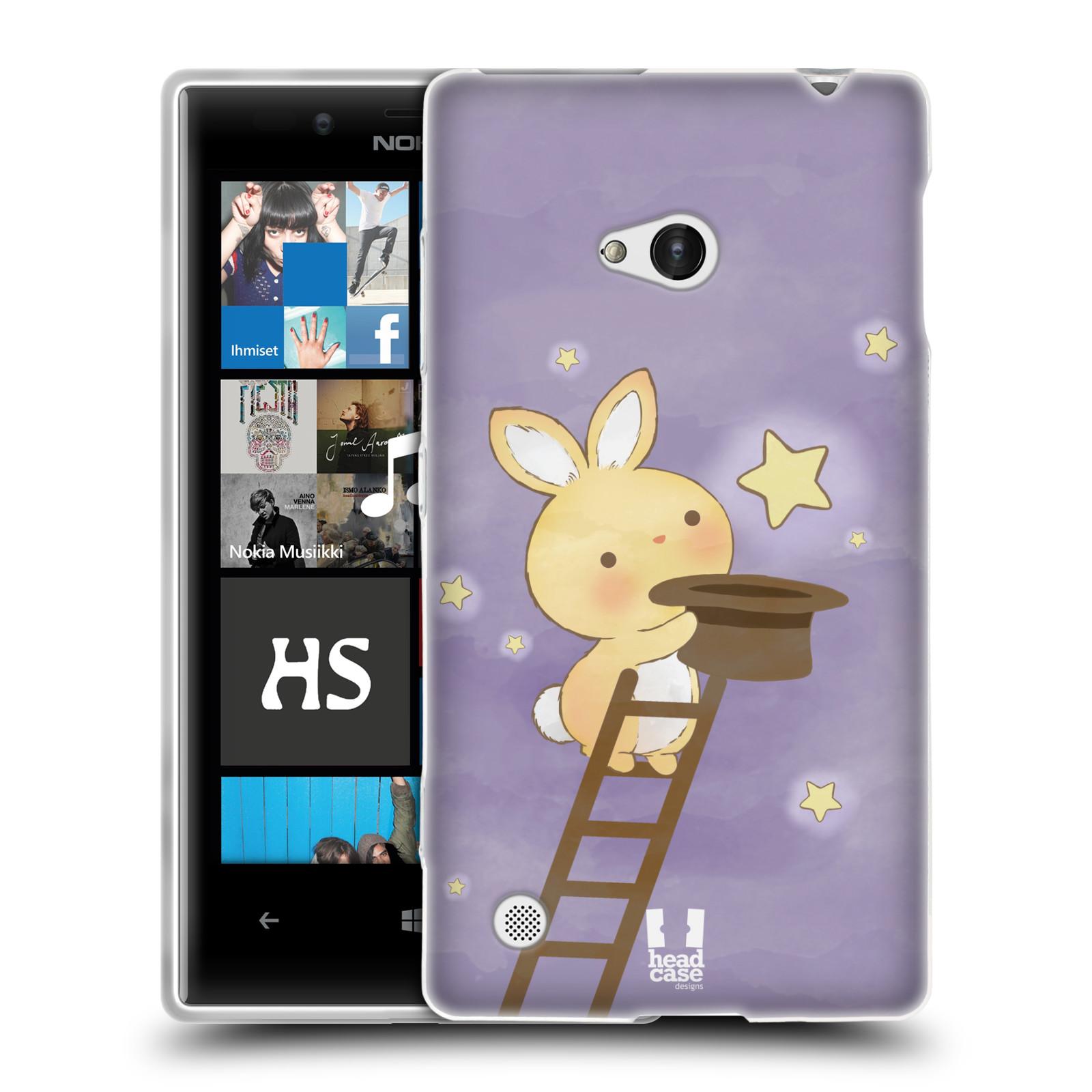 HEAD CASE silikonový obal na mobil NOKIA Lumia 720 vzor králíček a hvězdy fialová