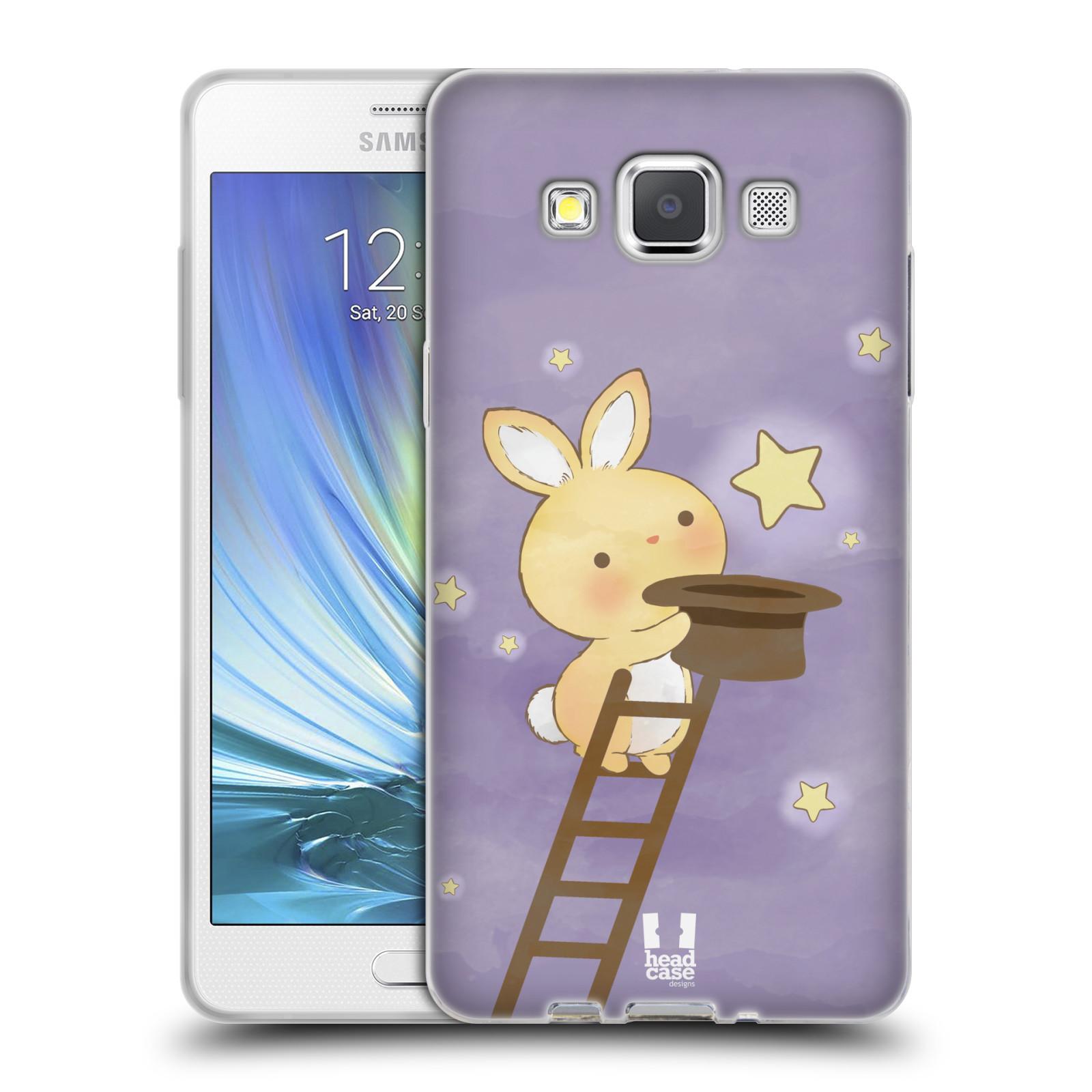 HEAD CASE silikonový obal na mobil Samsung Galaxy A5 vzor králíček a hvězdy fialová