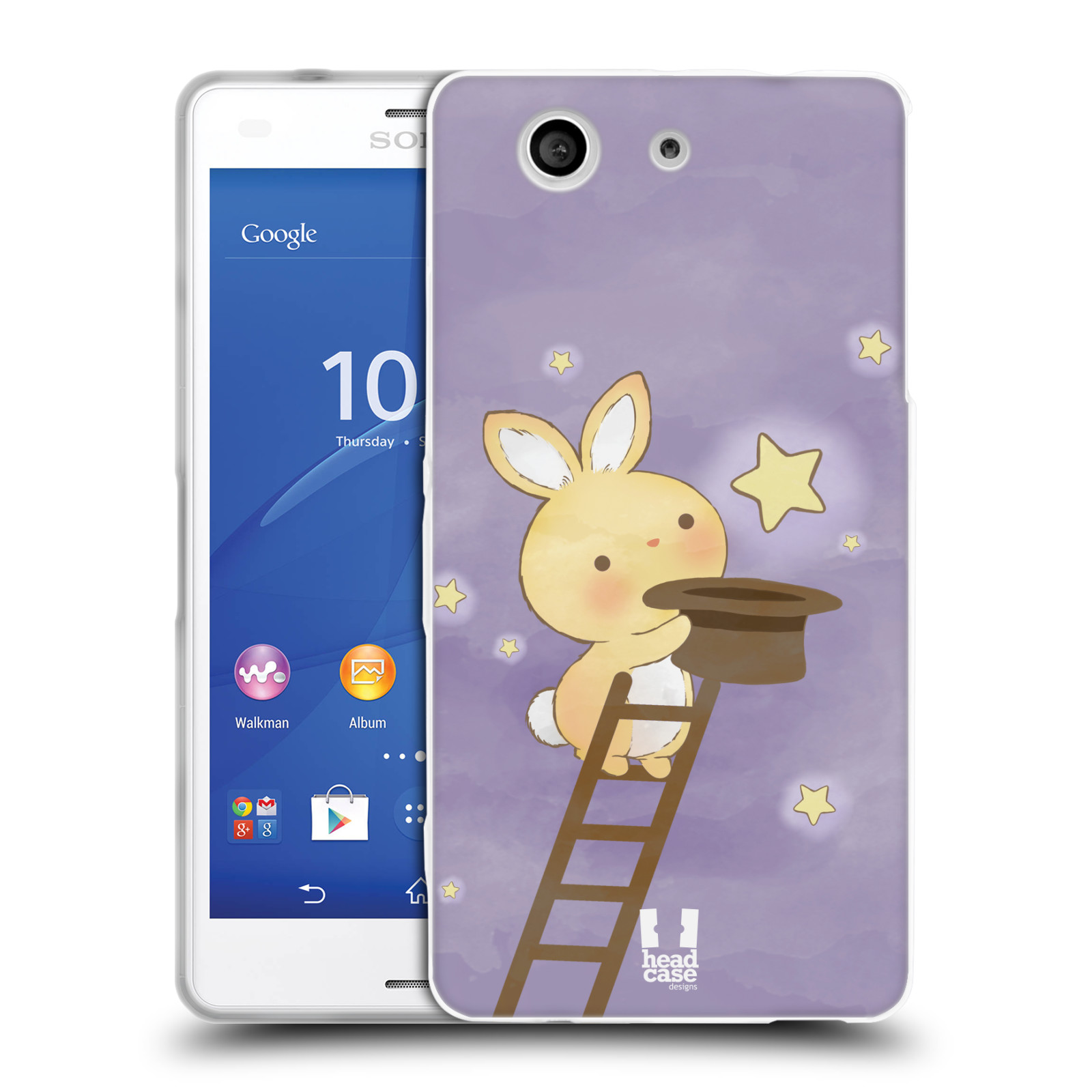 HEAD CASE silikonový obal na mobil Sony Xperia Z3 COMPACT (D5803) vzor králíček a hvězdy fialová