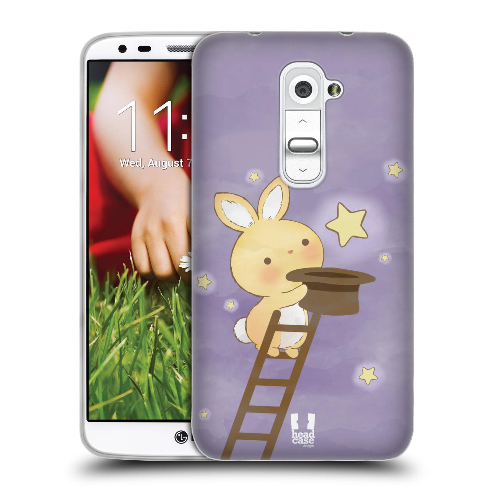 HEAD CASE silikonový obal na mobil LG G2 vzor králíček a hvězdy fialová