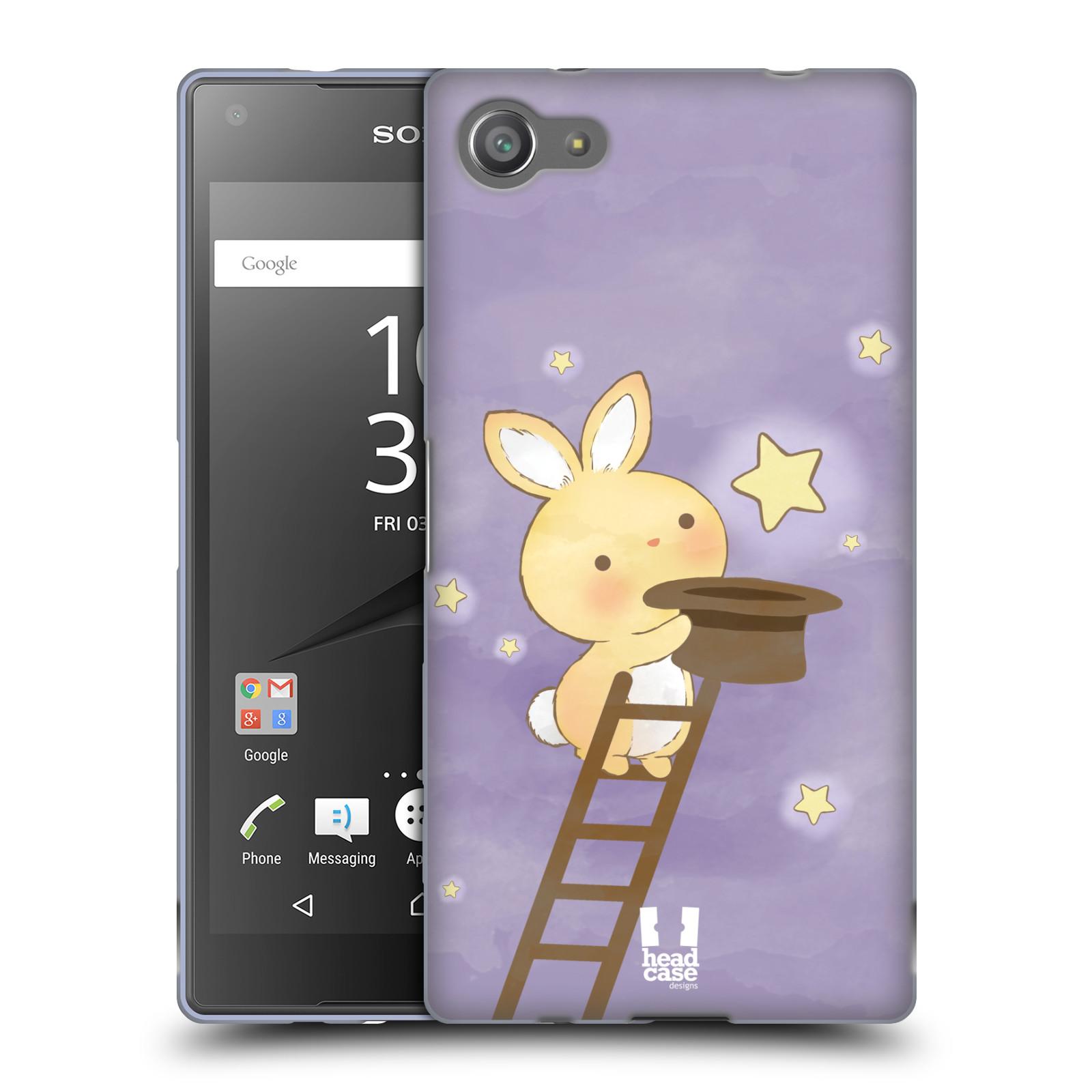HEAD CASE silikonový obal na mobil Sony Xperia Z5 COMPACT vzor králíček a hvězdy fialová