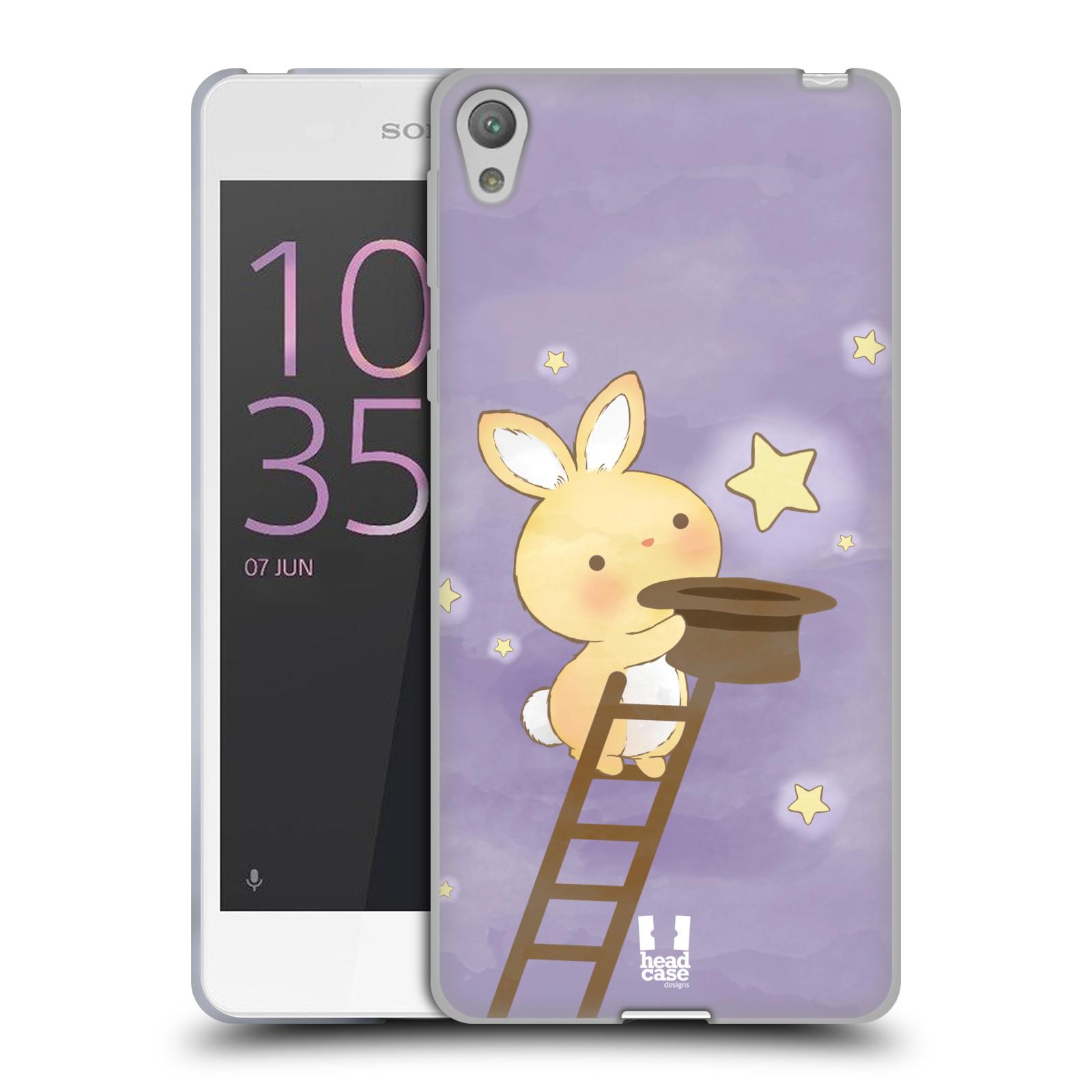 HEAD CASE silikonový obal na mobil SONY XPERIA E5 vzor králíček a hvězdy fialová